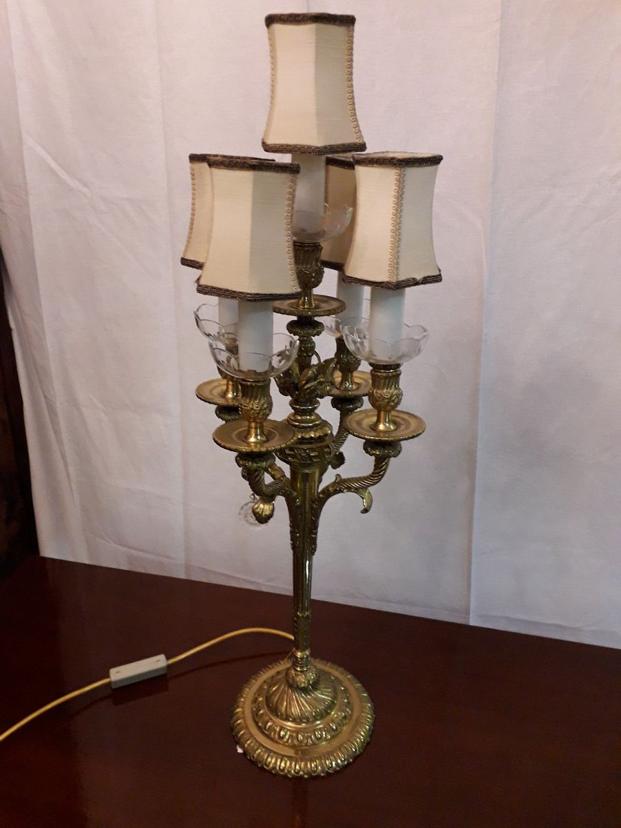 Vintage Bronze And Bohemia Crystal Chandelier Table Lamp