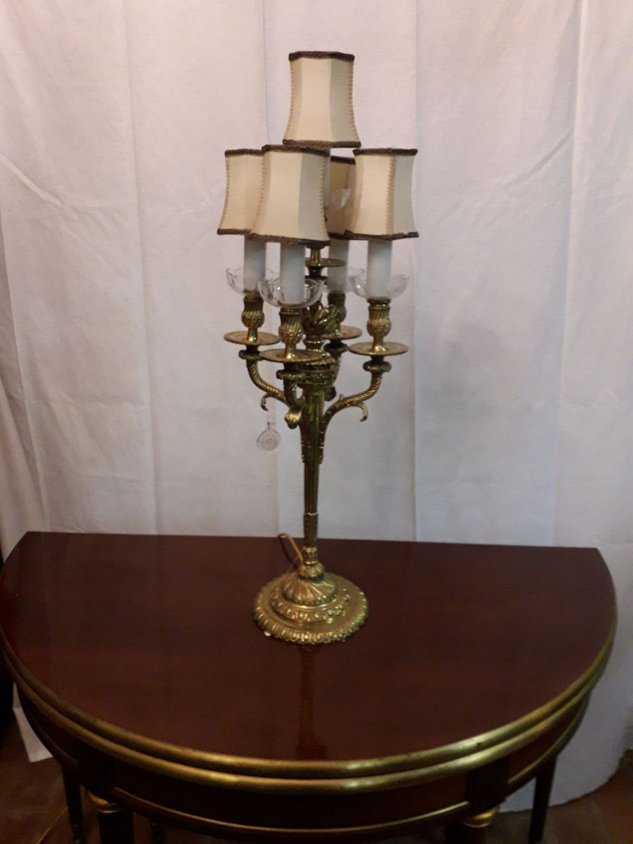 Vintage Bronze And Bohemia Crystal Chandelier Table Lamp For Sale At Pamono