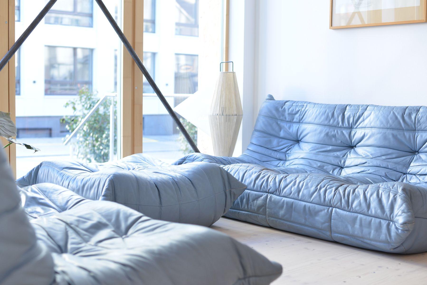 Beste Blau Leder Wohnzimmer Set Zeitgenössisch - Wohnzimmer Design ...