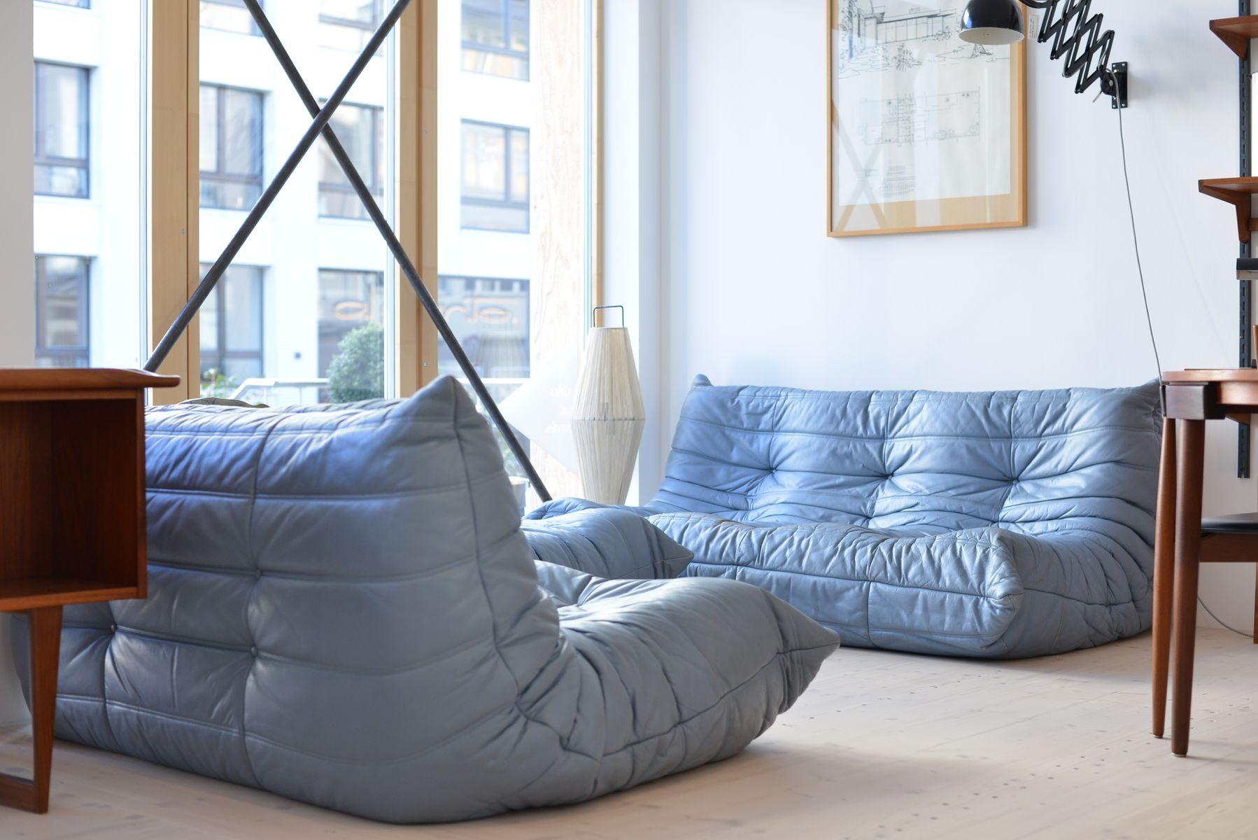 Blue Leather Togo Living Room Set By Michel Ducaroy For Ligne Roset 1970s For Sale At Pamono
