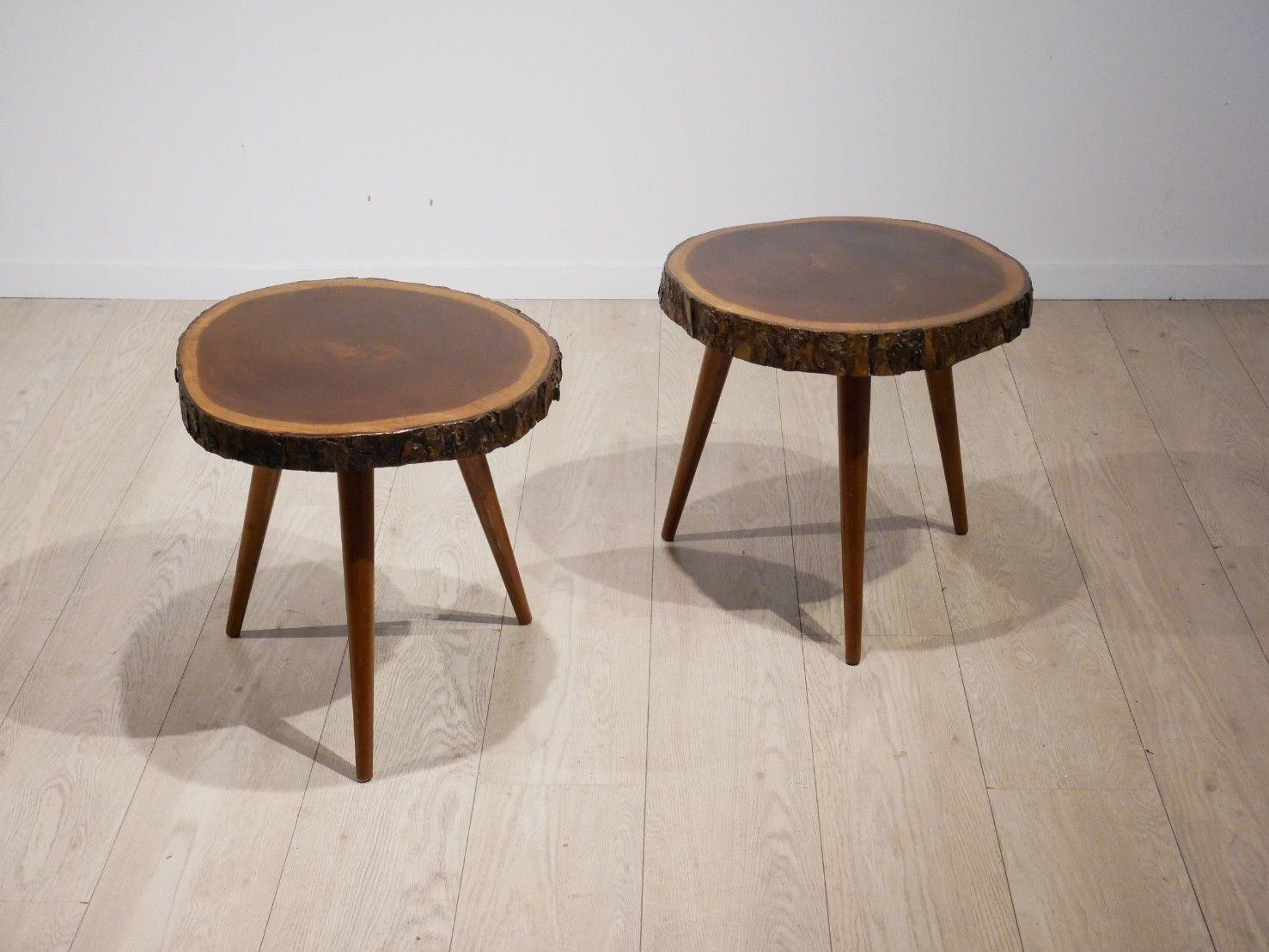 Mid century mahogany wood trunk tripod side tables