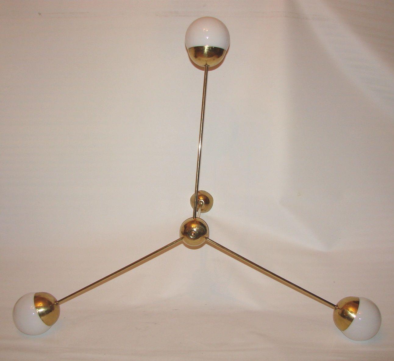 Vintage brass steel chandelier 1960s for sale at pamono price per piece arubaitofo Gallery