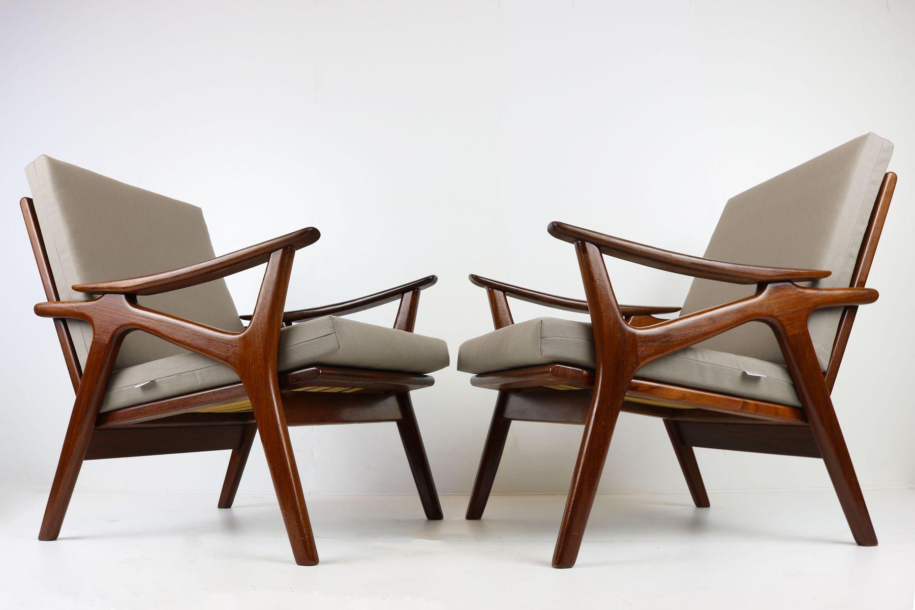 Chaises longues vintage en teck et tissu gris de de ster for Chaises longues en teck