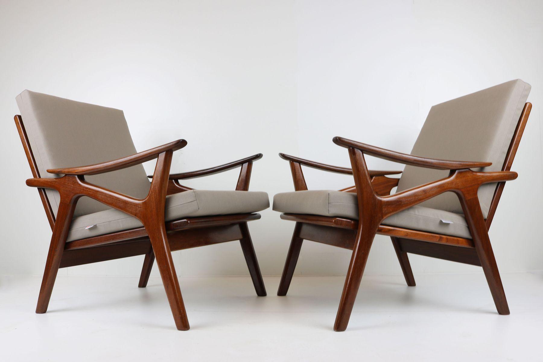 sessel aus teak und grauem stoff von de ster gelderland 1960er 2er set bei pamono kaufen. Black Bedroom Furniture Sets. Home Design Ideas
