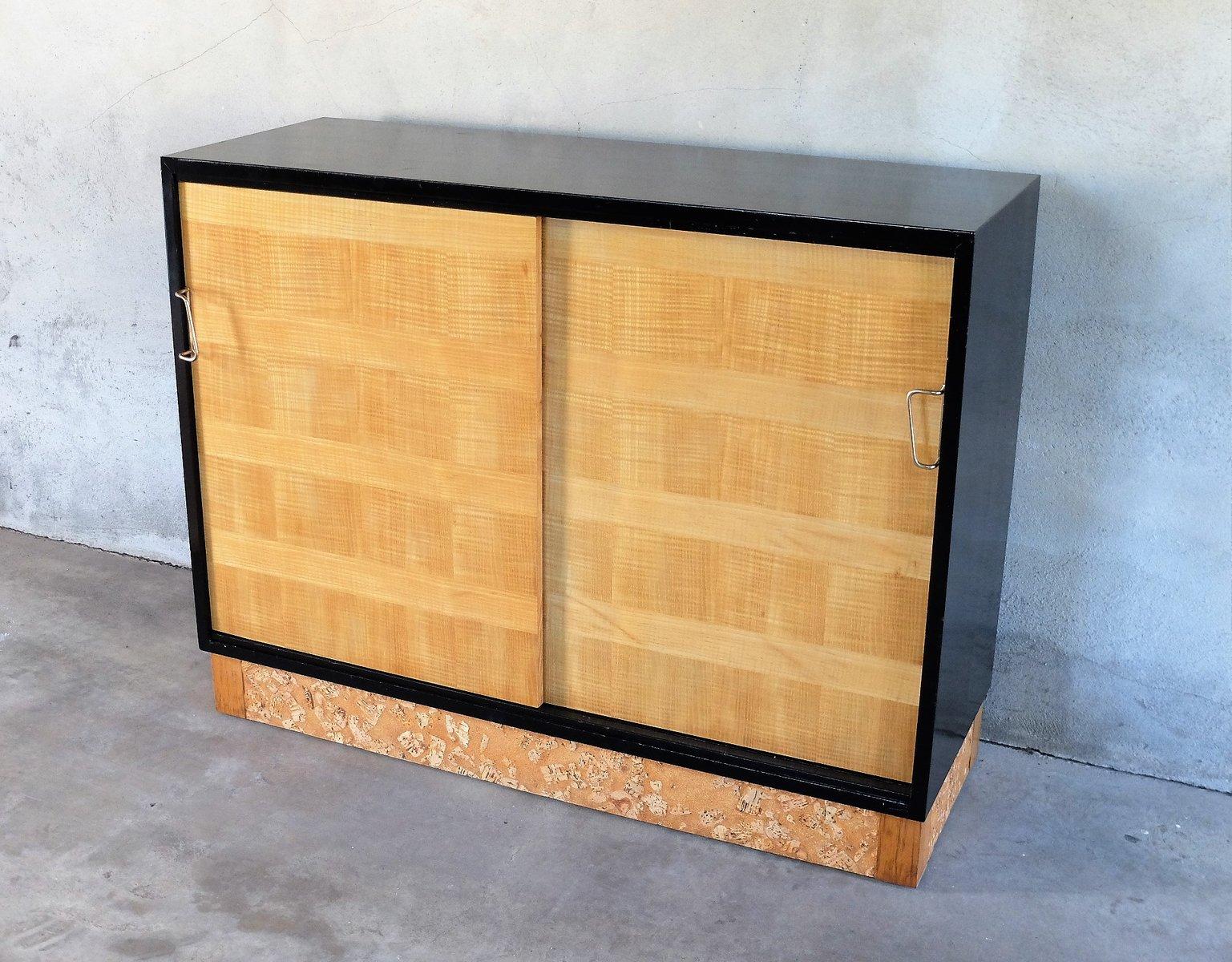 buffet vintage en bois laqu noir et contreplaqu de. Black Bedroom Furniture Sets. Home Design Ideas