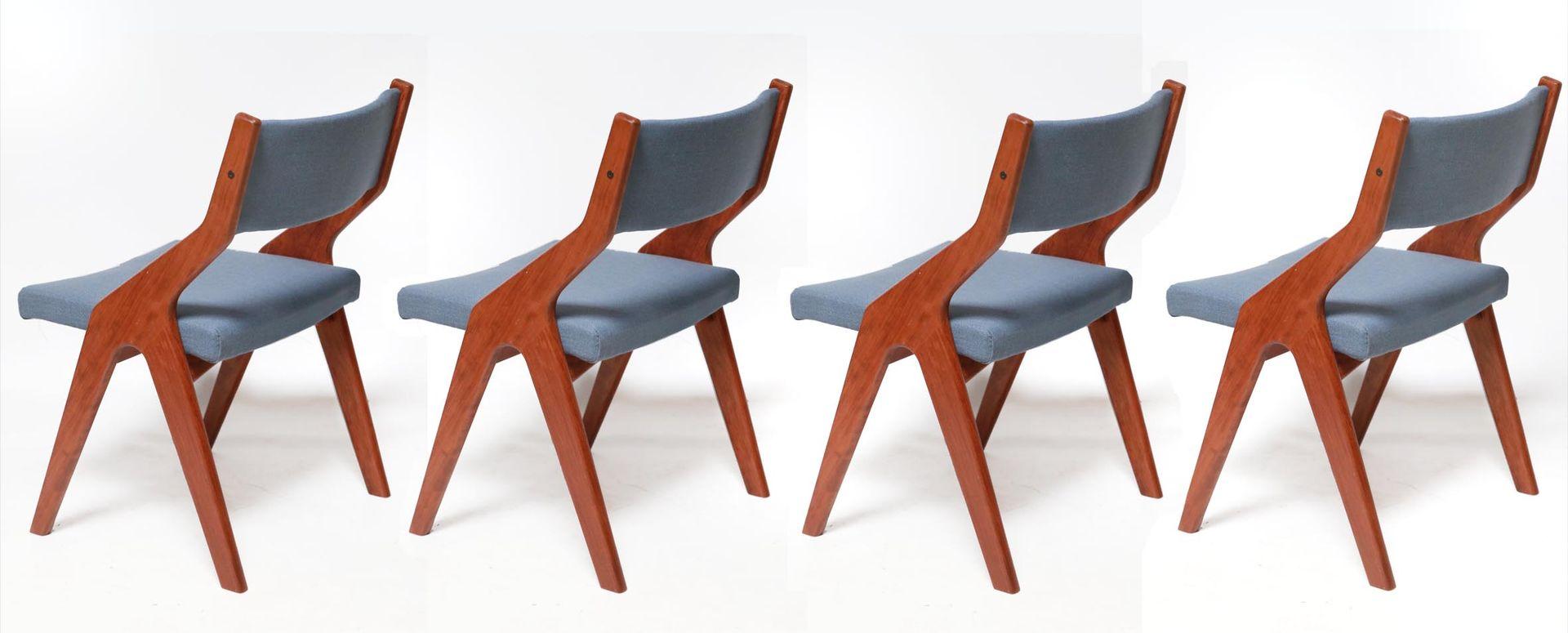 Vintage Danish Teak Wooden Dining Chairs 1960s Set Of 4