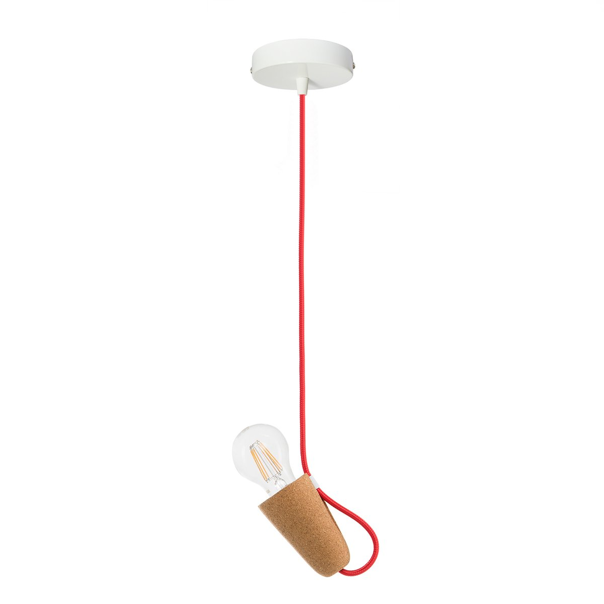 Sininho Pendant Lamp in Light Cork with Red Wire from Galula for ...
