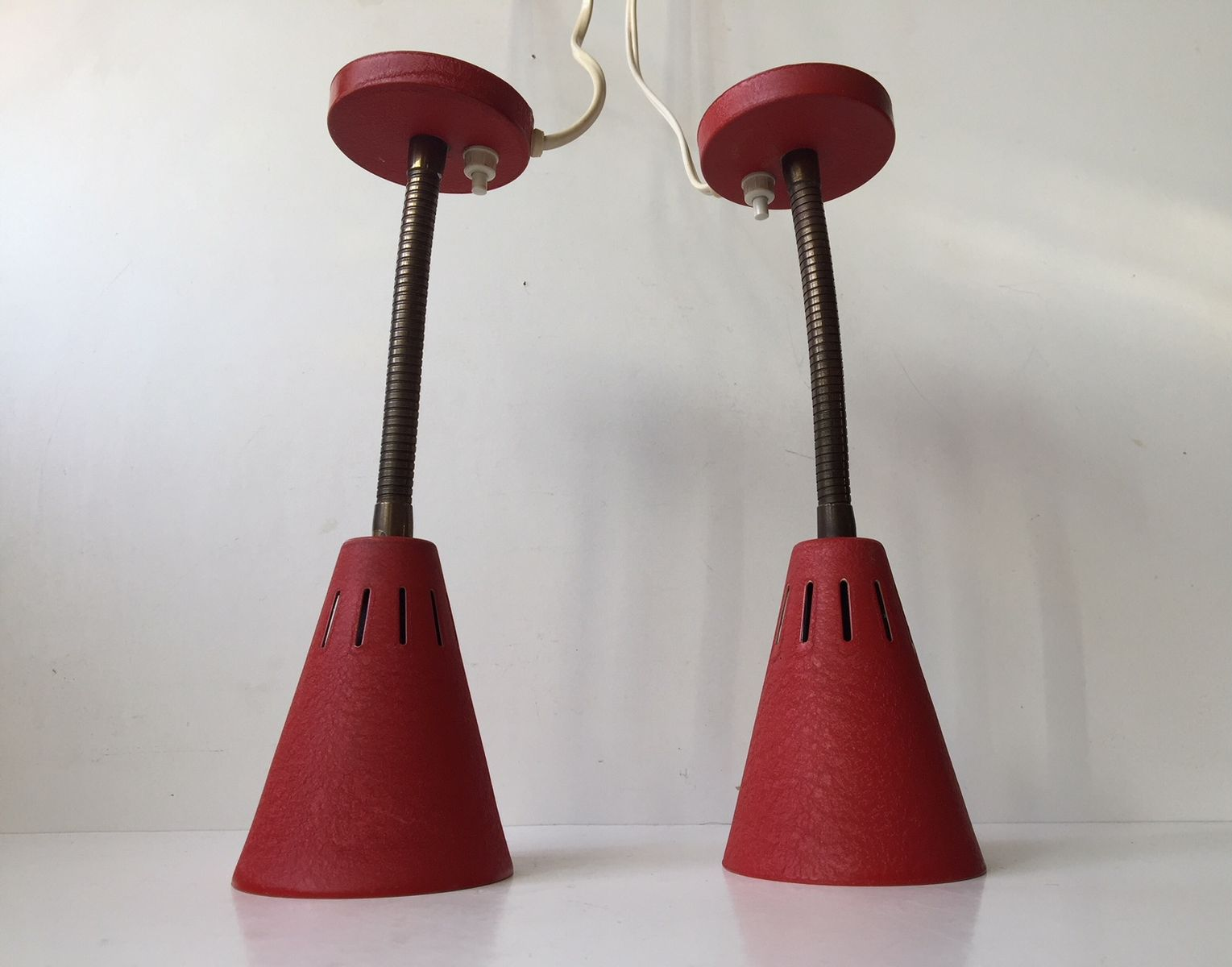 Mid century danish red adjustable wall lights by e s horn 1950s price per set mozeypictures Images