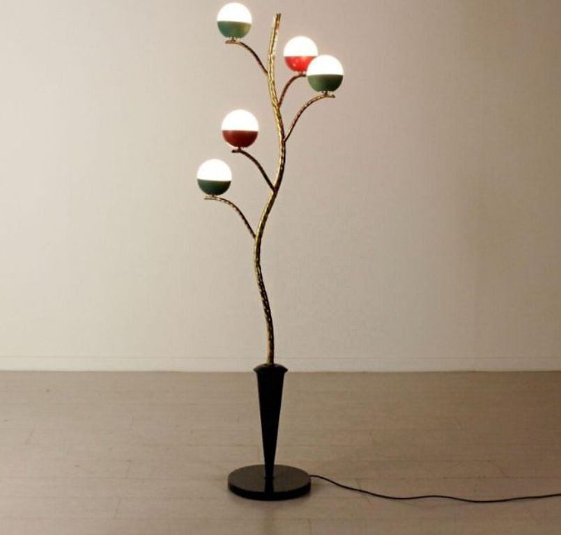 Brass tree floor lamp by angelo lelli 1960s for sale at pamono 240000 aloadofball Gallery