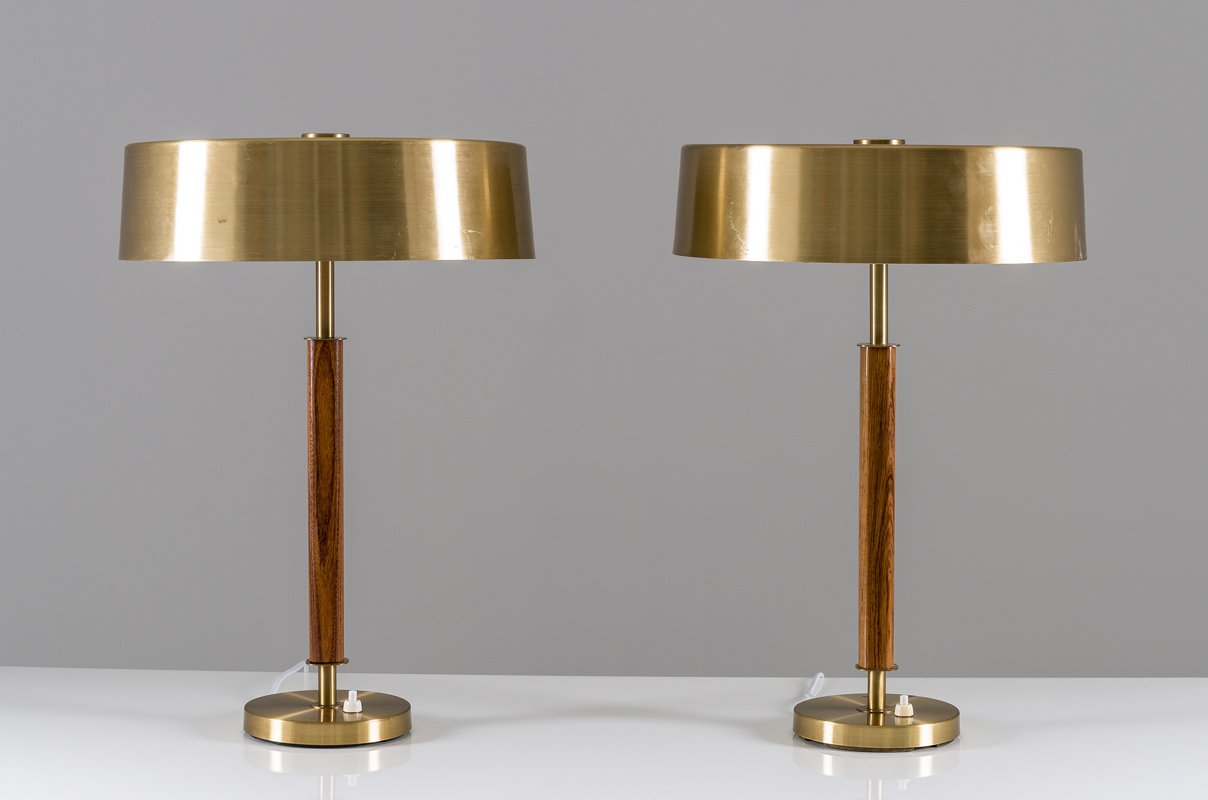 Swedish mid century table lamps in brass and wood from borns set swedish mid century table lamps in brass and wood from borns set of 2 aloadofball Image collections
