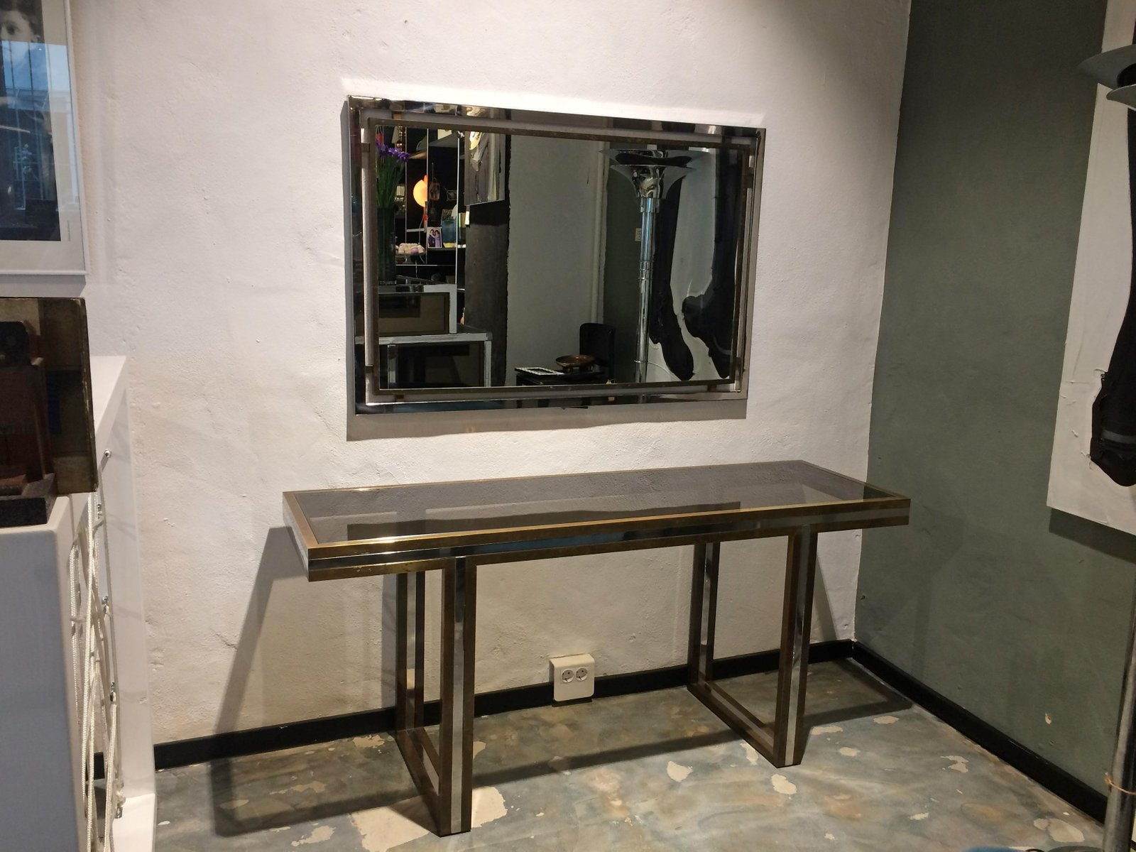 Console Table & Mirror Set by Romeo Rega, 1970s for sale at Pamono