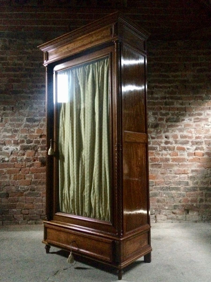 Antique Mahogany Glass Fronted French Armoire Wardrobe
