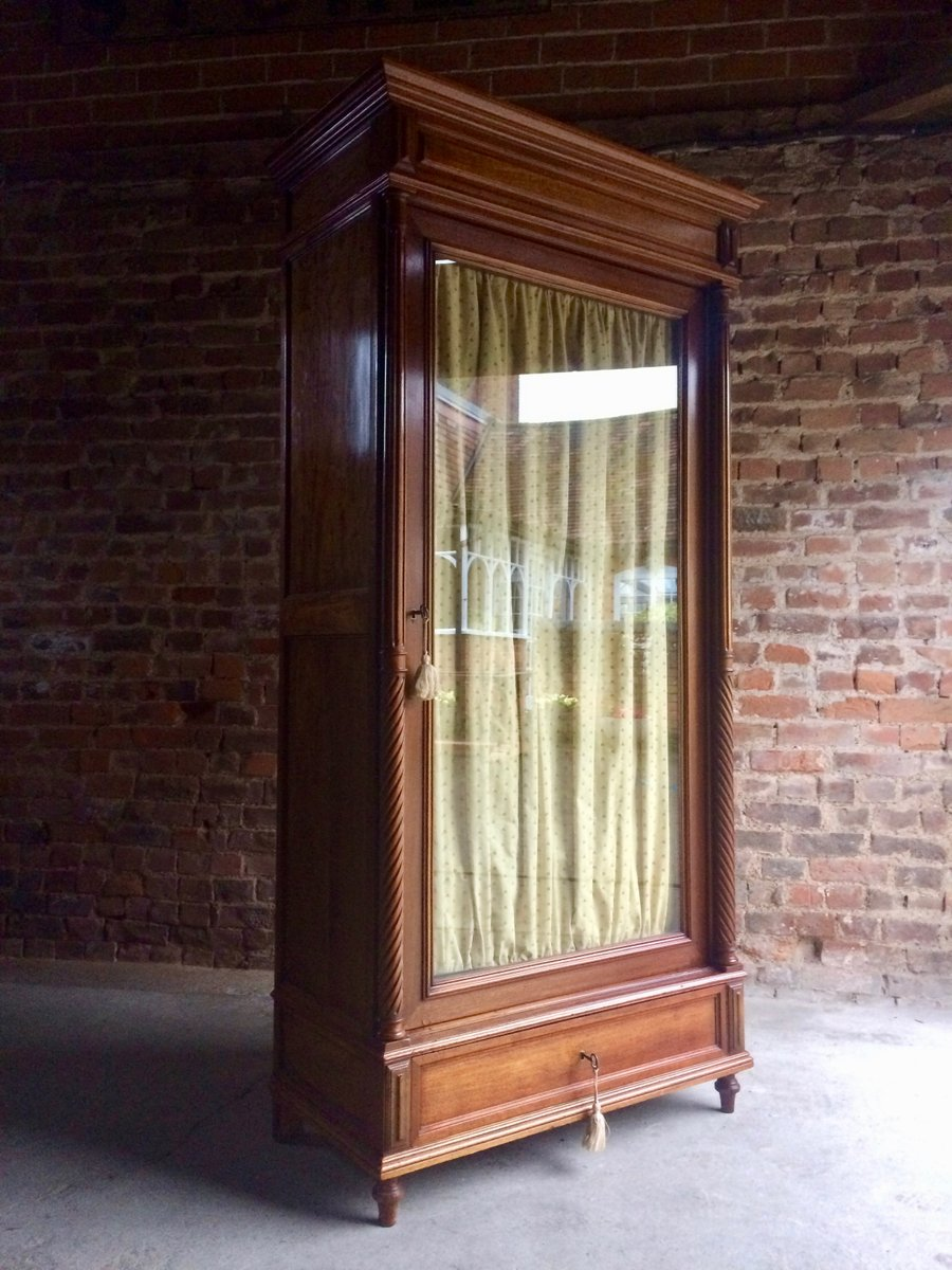 Antique Mahogany Glass Fronted French Armoire Wardrobe, 1890s