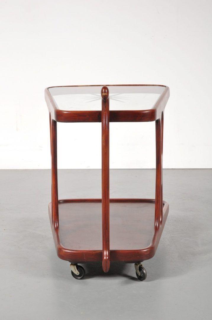 glas holz servierwagen 1950er bei pamono kaufen. Black Bedroom Furniture Sets. Home Design Ideas