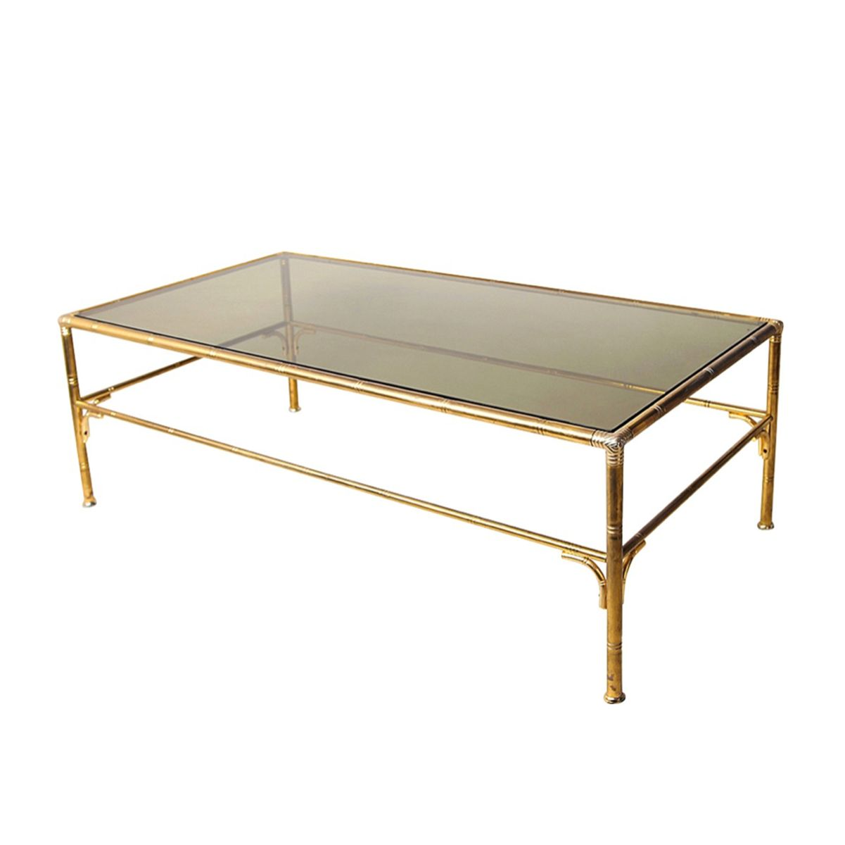 Brass Faux Bamboo Coffee Table: Vintage Brass Faux Bamboo Coffee Table For Sale At Pamono