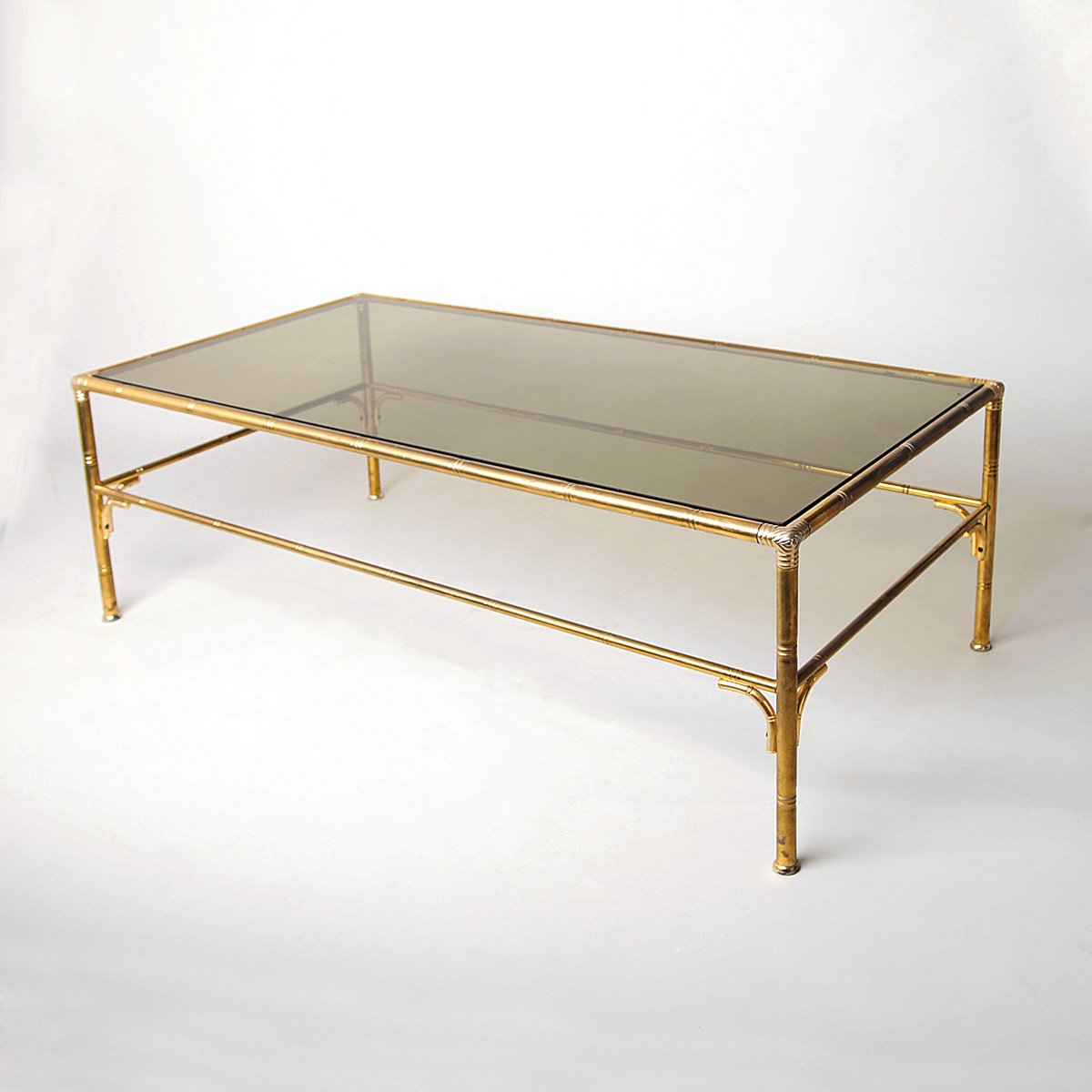 Vintage Brass Faux Bamboo Coffee Table For Sale At Pamono