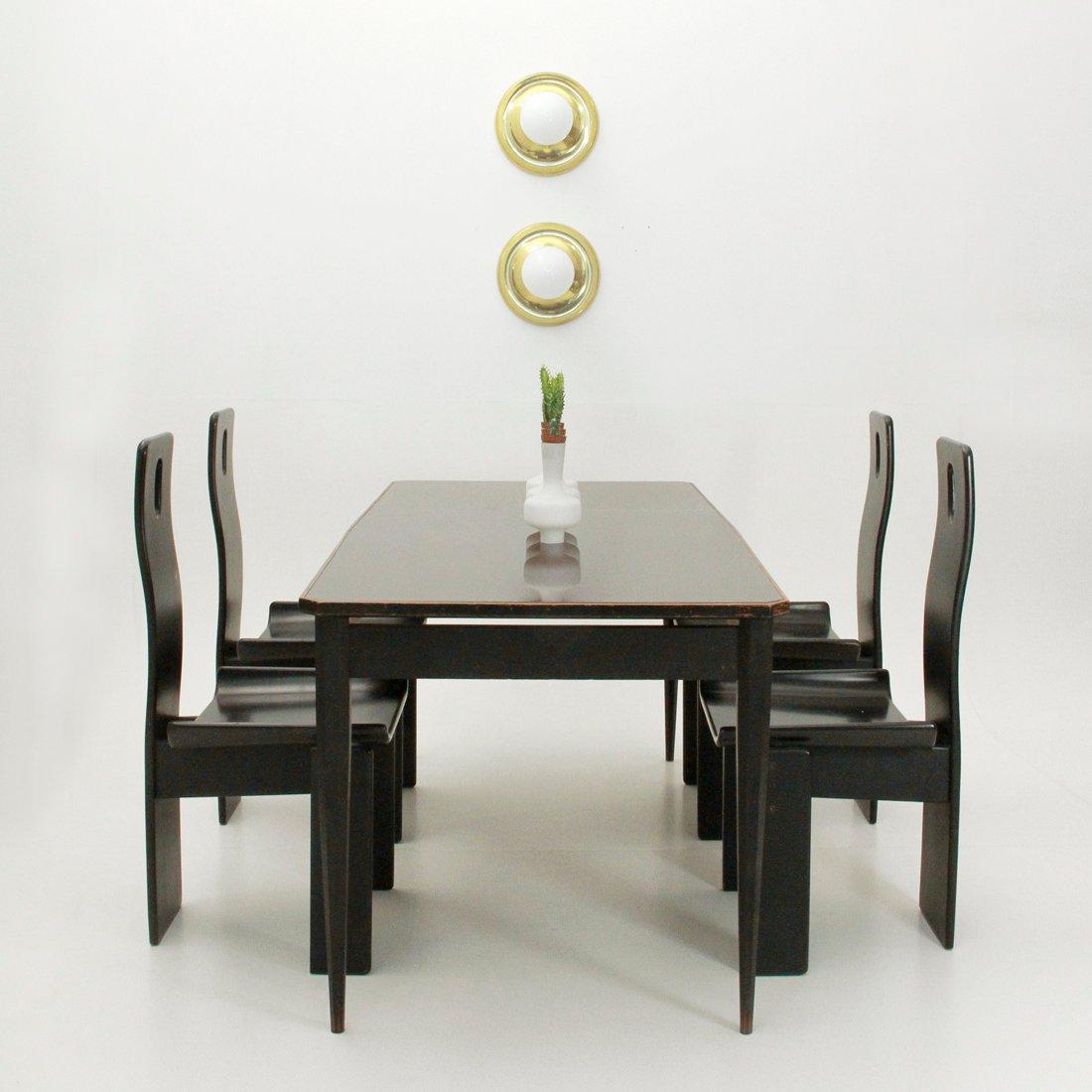 Schwarzer italienischer esstisch mit glasplatte 1960er for Designer esstisch italien