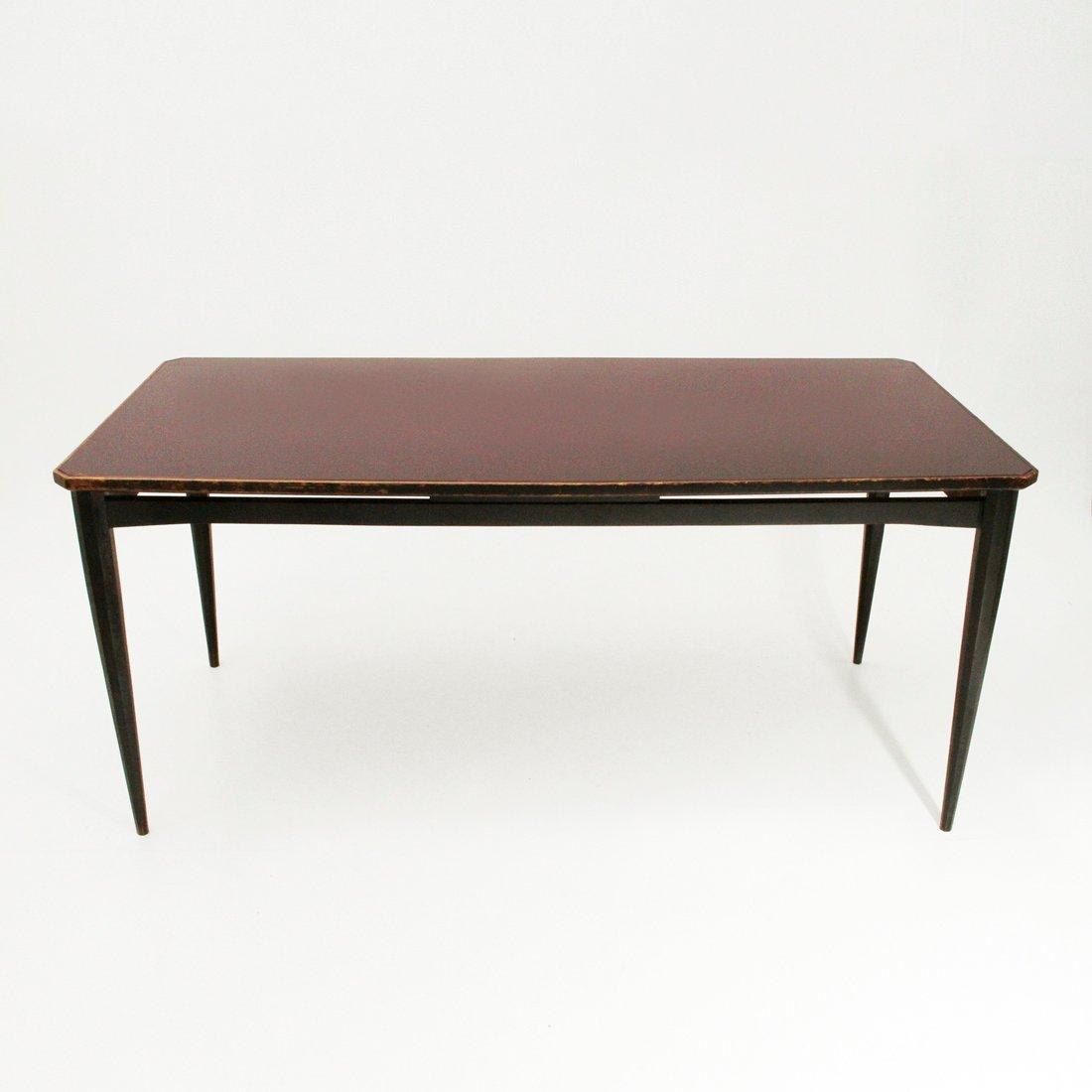 schwarzer italienischer esstisch mit glasplatte 1960er. Black Bedroom Furniture Sets. Home Design Ideas