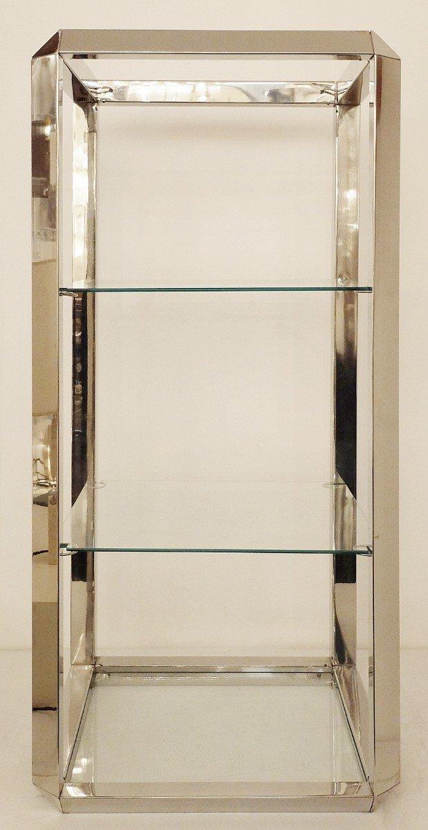 Vintage Chrome & Glass Shelf for sale at Pamono