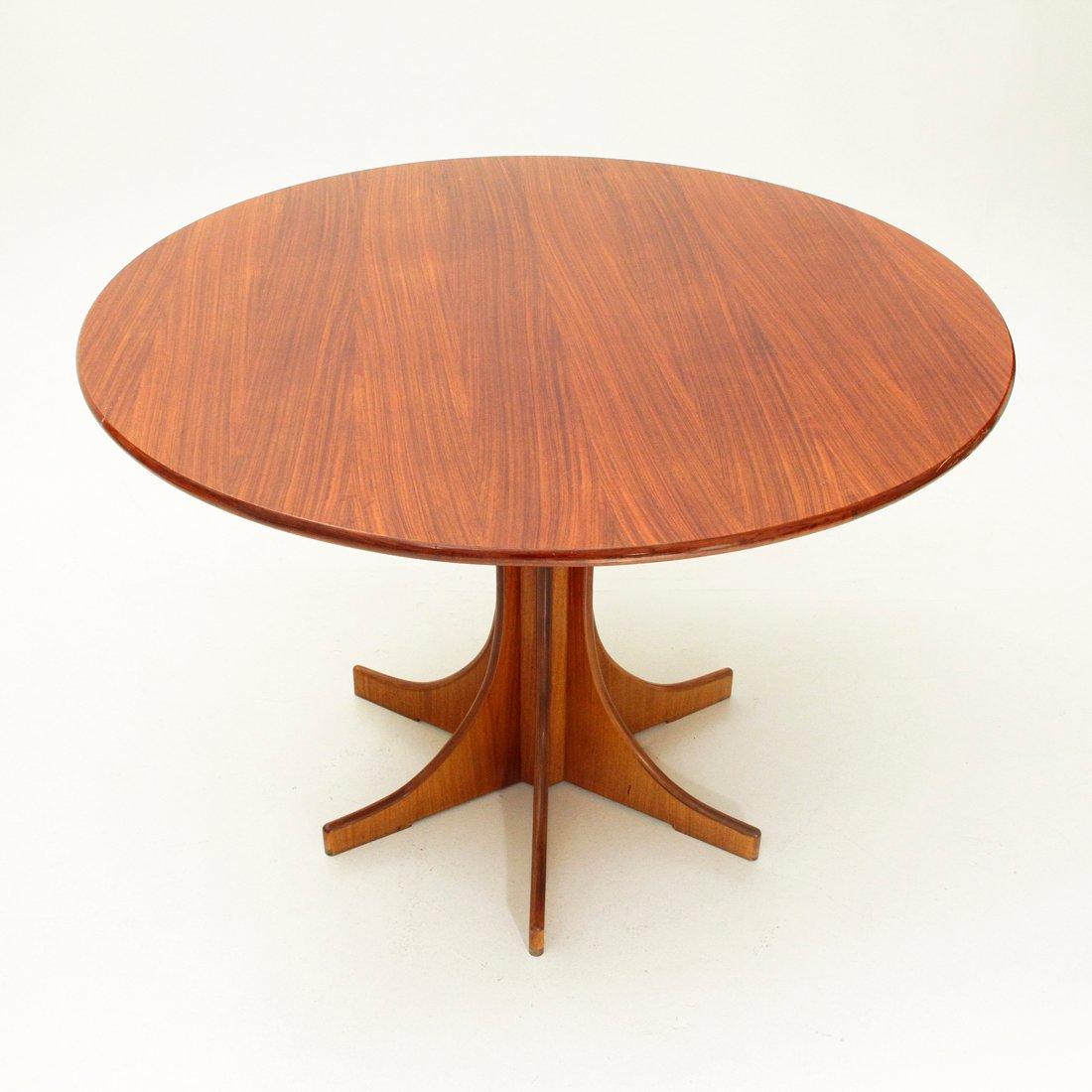 runder italienischer esstisch aus holz 1960er bei pamono. Black Bedroom Furniture Sets. Home Design Ideas