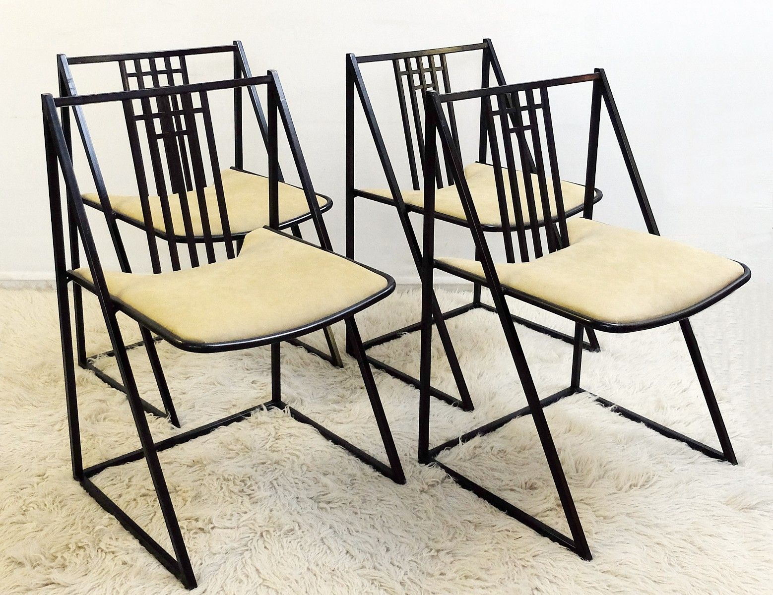 mid century st hle aus schwarzem metall 6er set bei pamono kaufen. Black Bedroom Furniture Sets. Home Design Ideas