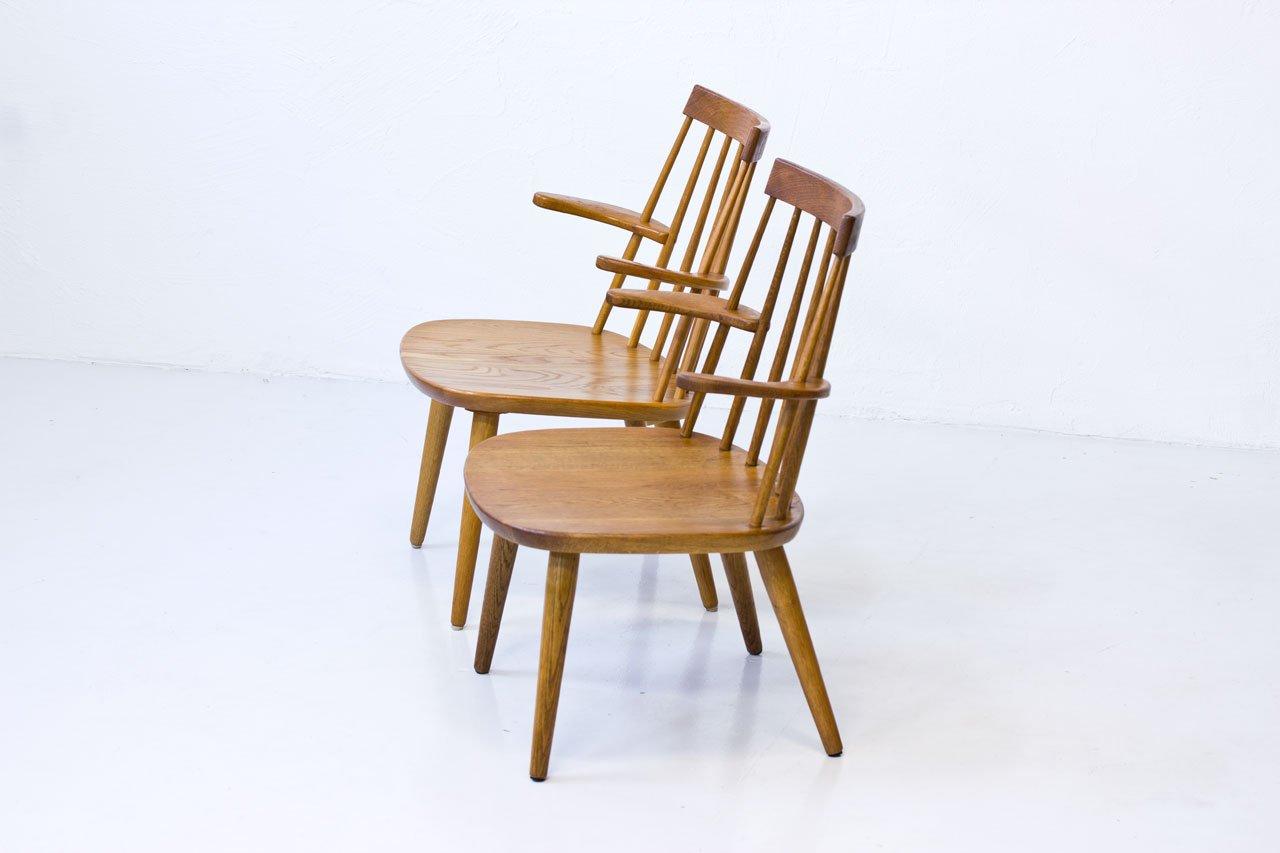 Sibbo Armlehnstühle aus Eiche von Yngve Ekström für Stolab, 1960er, 2er Set bei Pamono kaufen