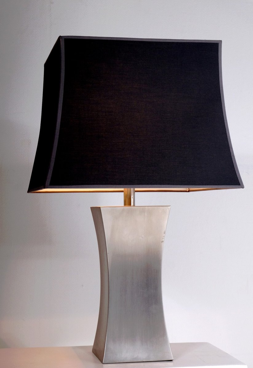 French Stainless Steel Table Lamps With Silk Shades By Francoise See 1970s