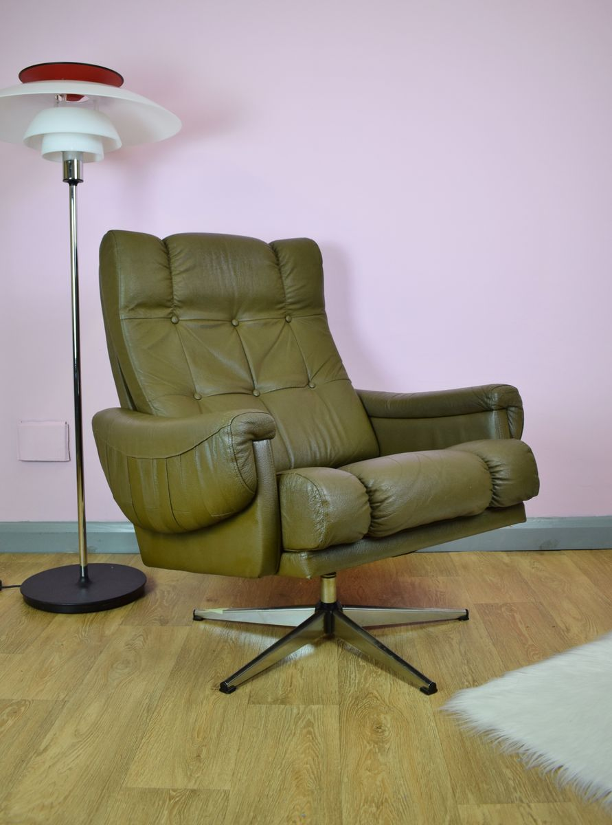 Mid Century Brown Leather Swivel Lounge Chair 1970s For