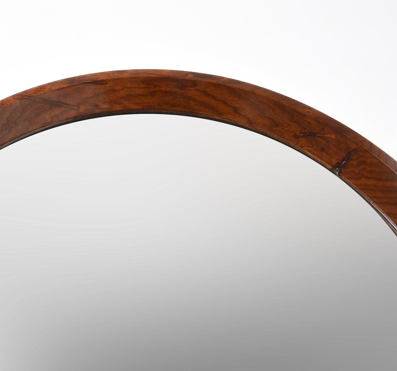 runder wandspiegel mit nussholz rahmen 1970er bei pamono kaufen. Black Bedroom Furniture Sets. Home Design Ideas