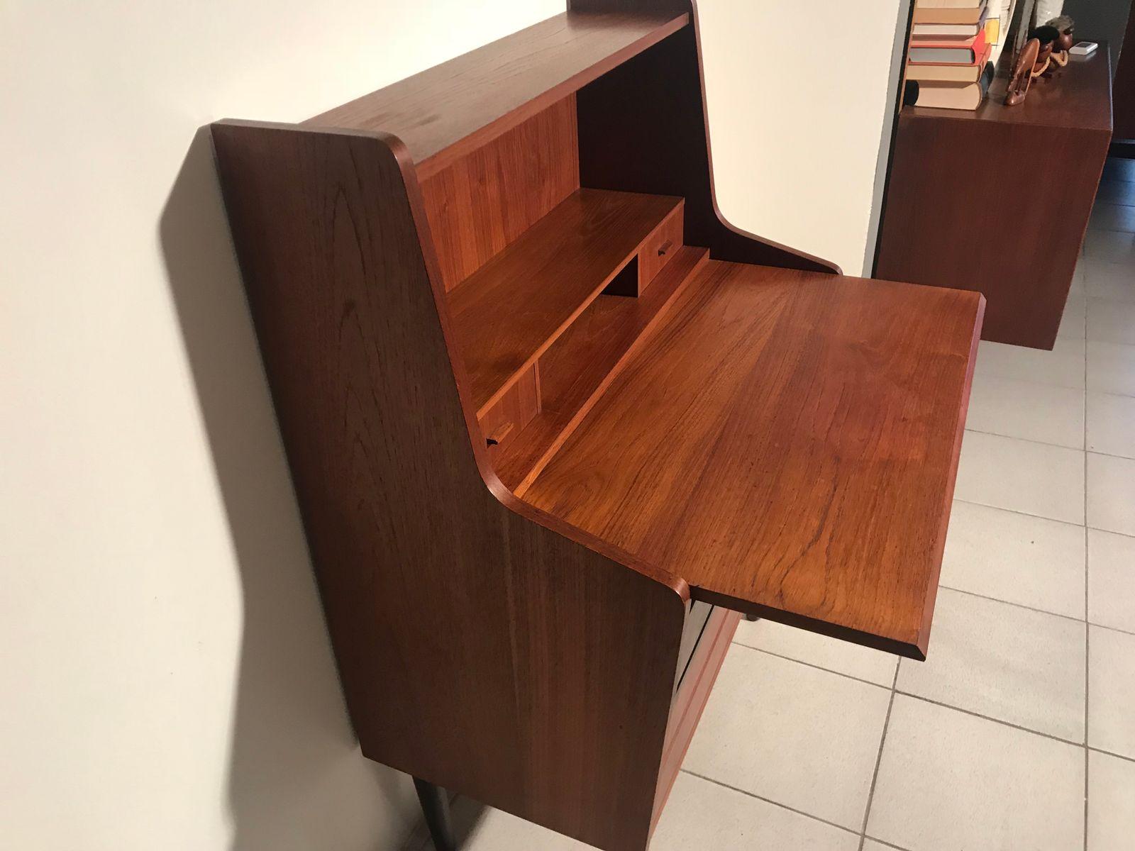 vintage teak secretaire 1960s for sale at pamono. Black Bedroom Furniture Sets. Home Design Ideas