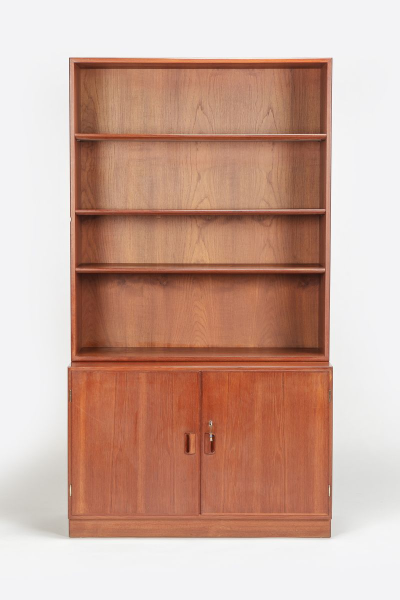 Model 129 bookcase and model 124 base cabinet by borge for Bookcase with cabinet base plans