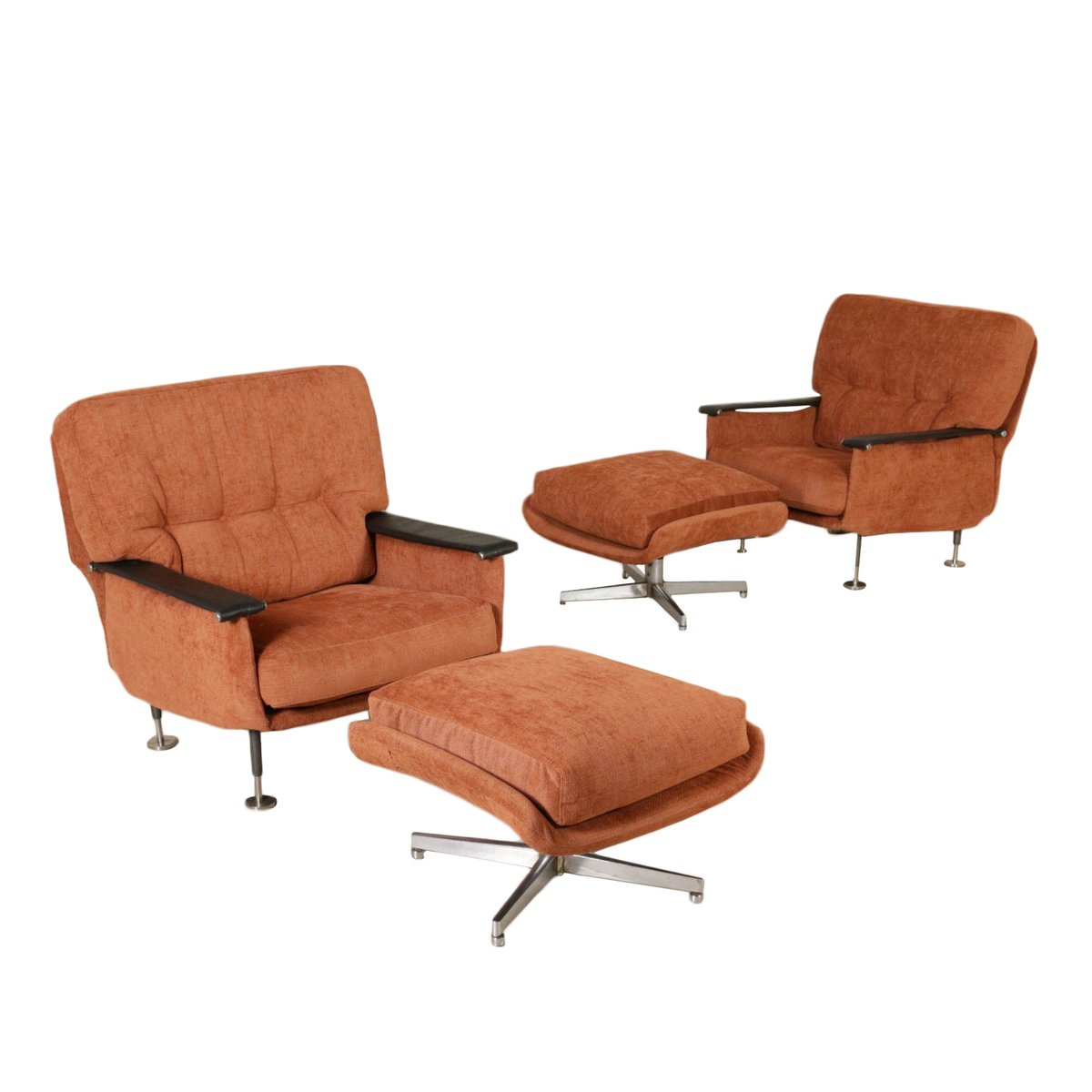 Italian Armchairs With Footstools, 1960s, Set Of 2