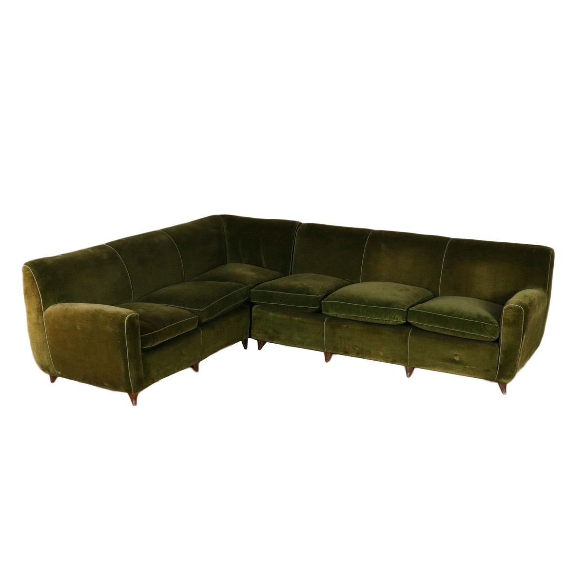 Vintage Italian Corner Sofa With Feather Cushions