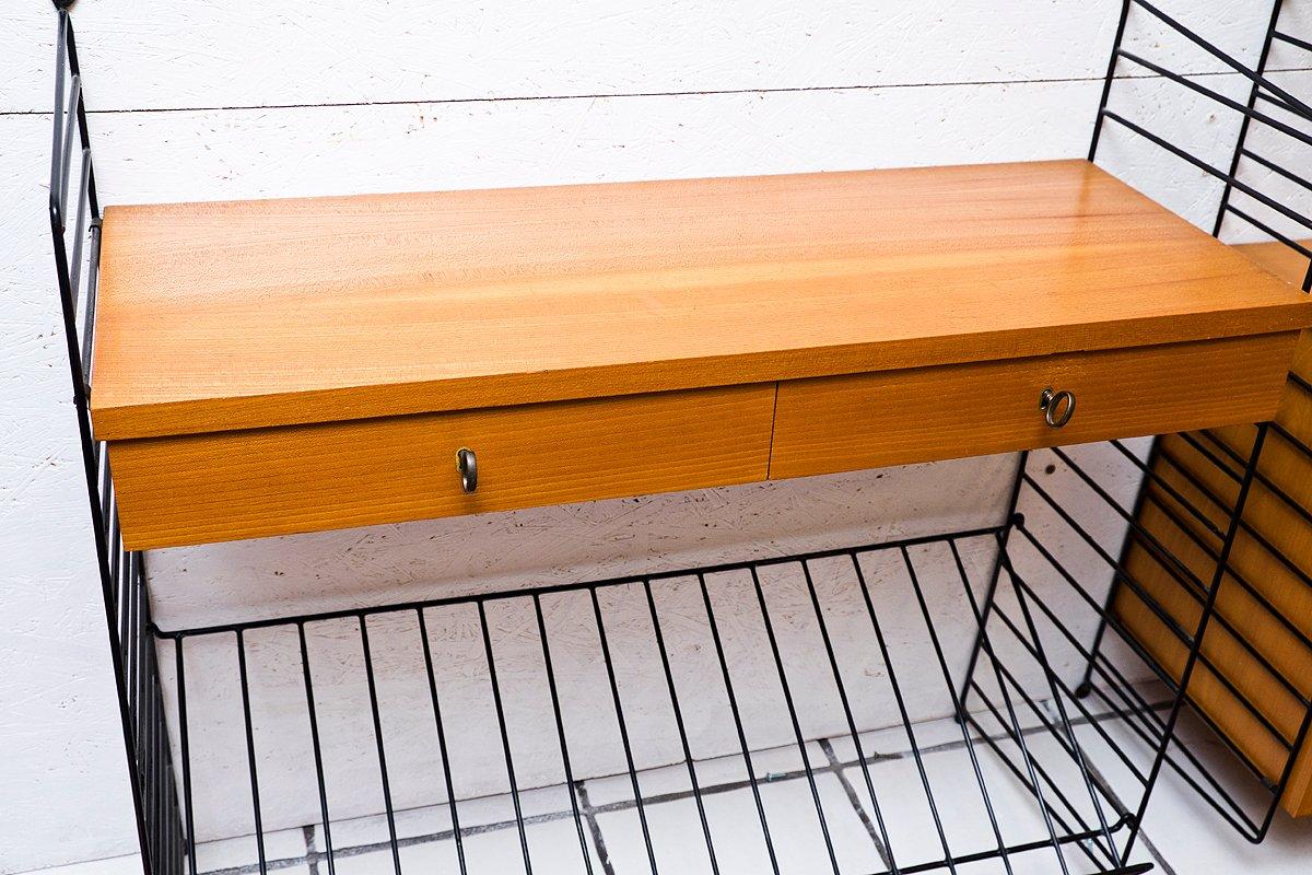 wall shelf with drawers magazine rack by kajsa nils nisse strinning for string 1960s for. Black Bedroom Furniture Sets. Home Design Ideas