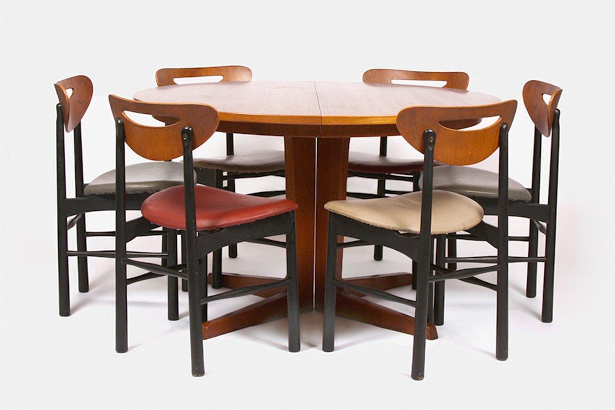 teak extendable dining table set 1960s for sale at pamono. Black Bedroom Furniture Sets. Home Design Ideas