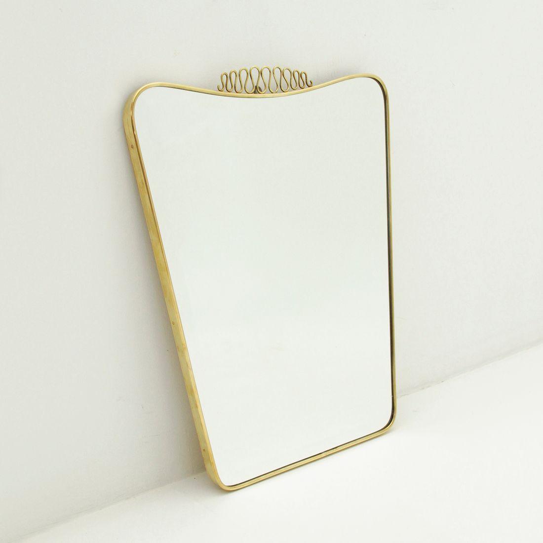 italienischer mid century messing spiegel 1950er bei pamono kaufen. Black Bedroom Furniture Sets. Home Design Ideas