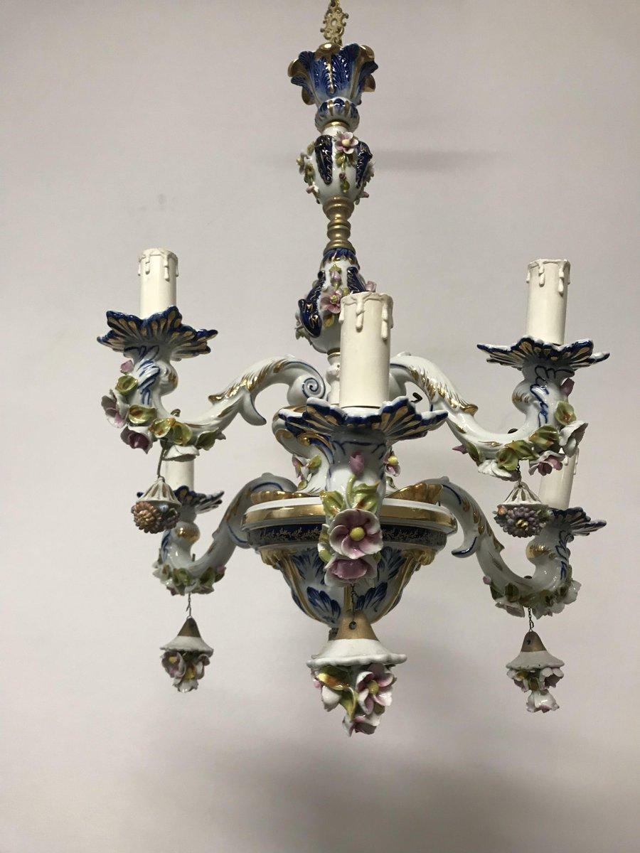 Vintage french porcelain flower chandelier for sale at pamono vintage french porcelain flower chandelier arubaitofo Gallery