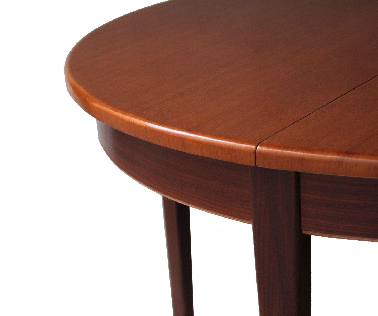 runder ausziehbarer palisander esstisch 1950er bei pamono kaufen. Black Bedroom Furniture Sets. Home Design Ideas