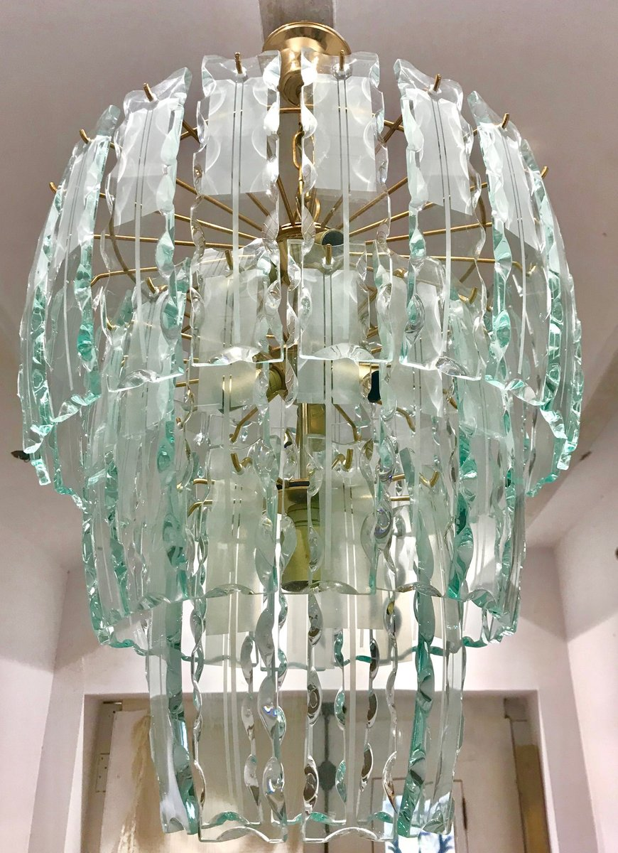 Vintage Murano Kristallglas Kronleuchter mit vergoldetem Rahmen bei ...