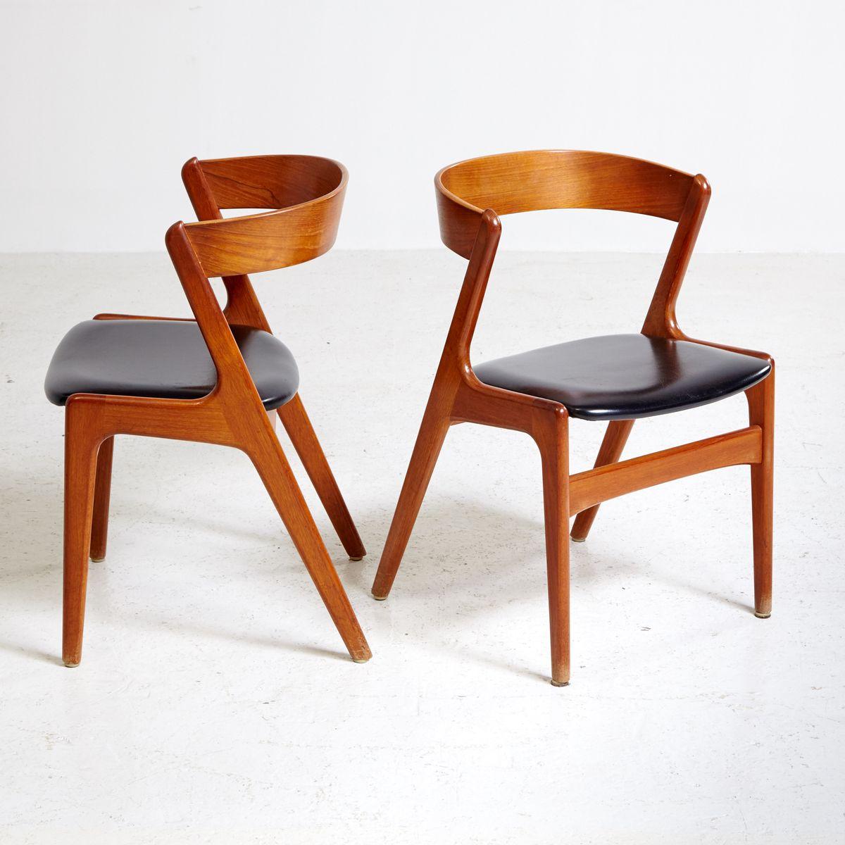 d nischer teak stuhl mit ledersitz 1960er bei pamono kaufen. Black Bedroom Furniture Sets. Home Design Ideas