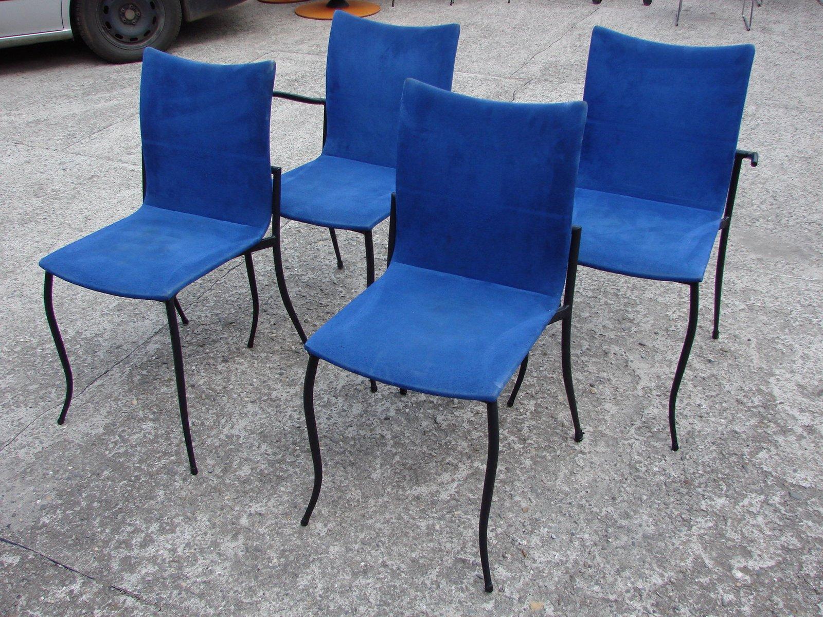 st hle aus metall mit blaumen bez gen von kff design 1980er 4er set bei pamono kaufen. Black Bedroom Furniture Sets. Home Design Ideas