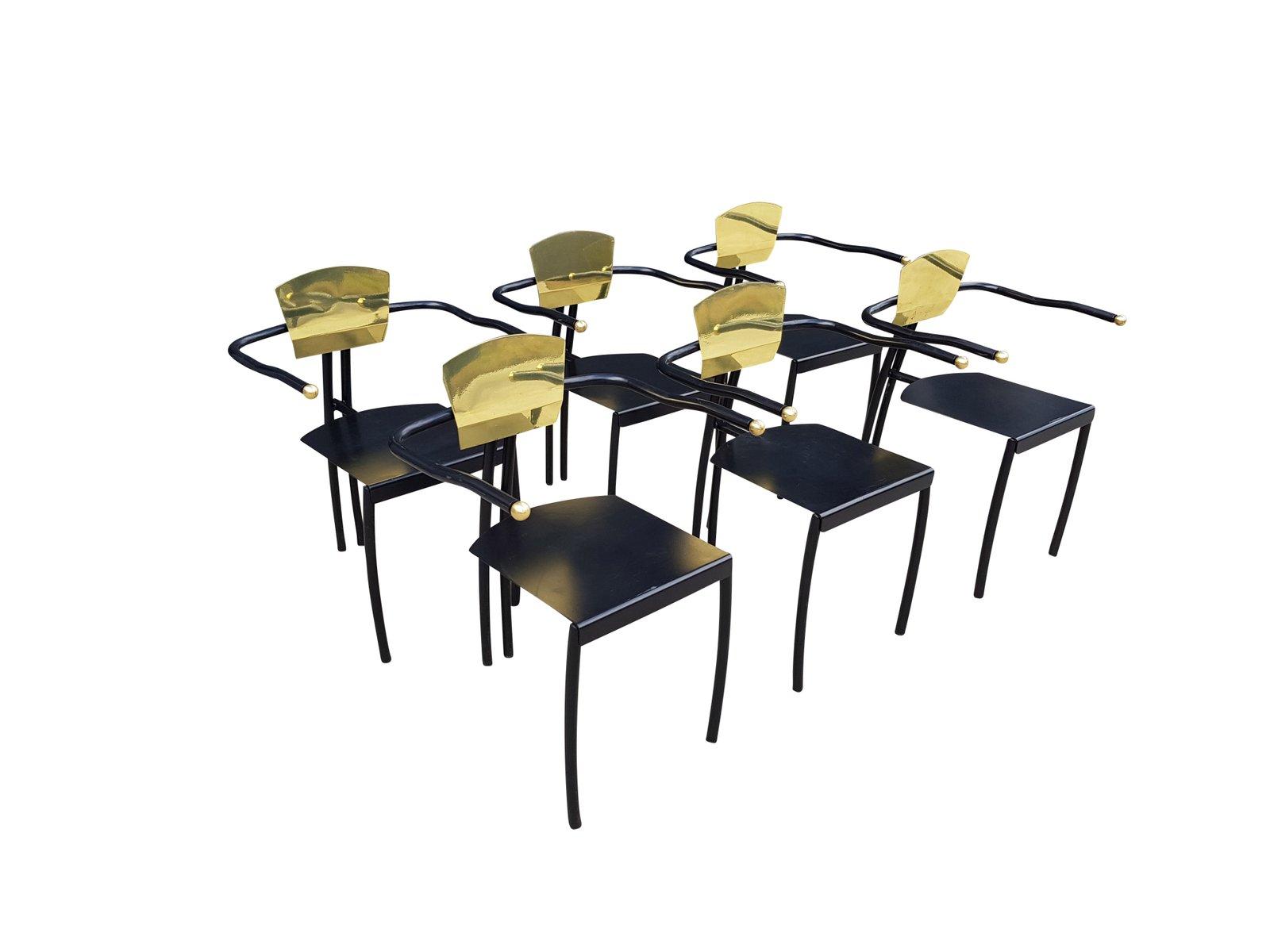 memphis messing schwarz lackierte metall st hle 6er set 1980er bei pamono kaufen. Black Bedroom Furniture Sets. Home Design Ideas