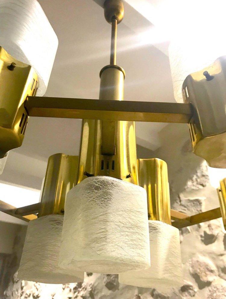 Murano Glas Kronleuchter mit vergoldetem Rahmen von Gaetano Sciolari ...