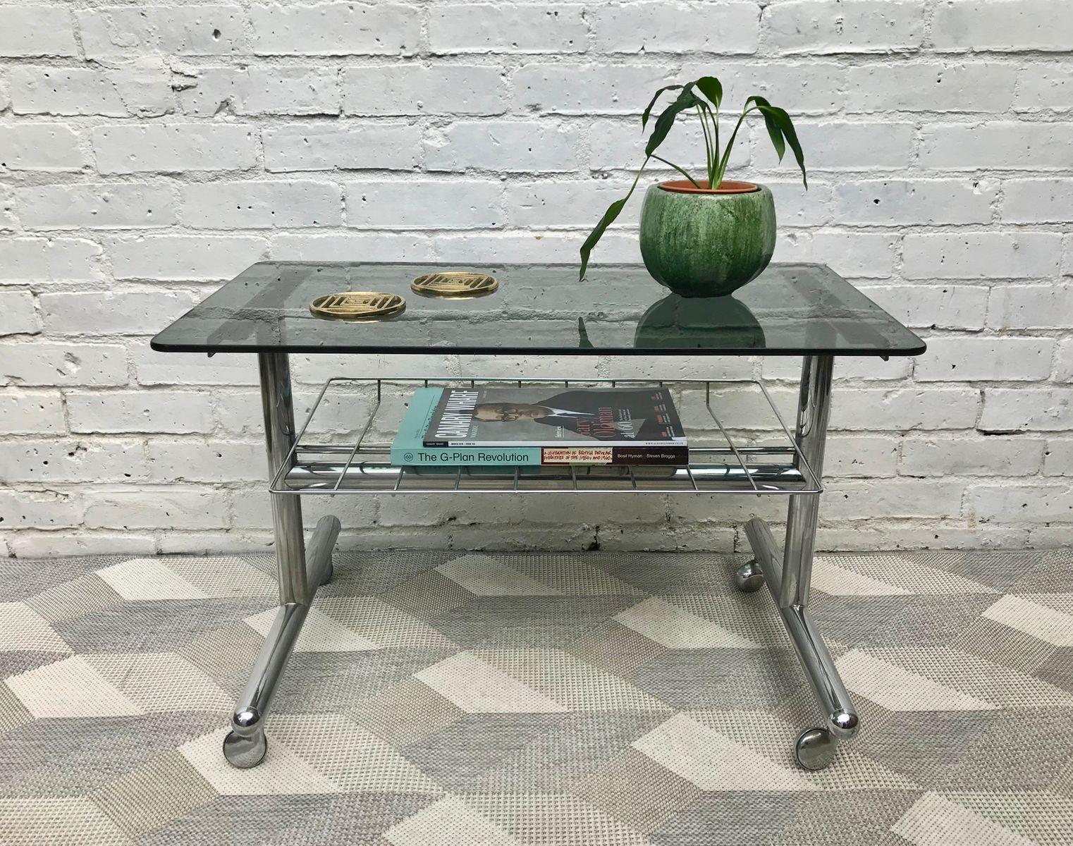 chrom rauchglas couchtisch 1970er bei pamono kaufen. Black Bedroom Furniture Sets. Home Design Ideas
