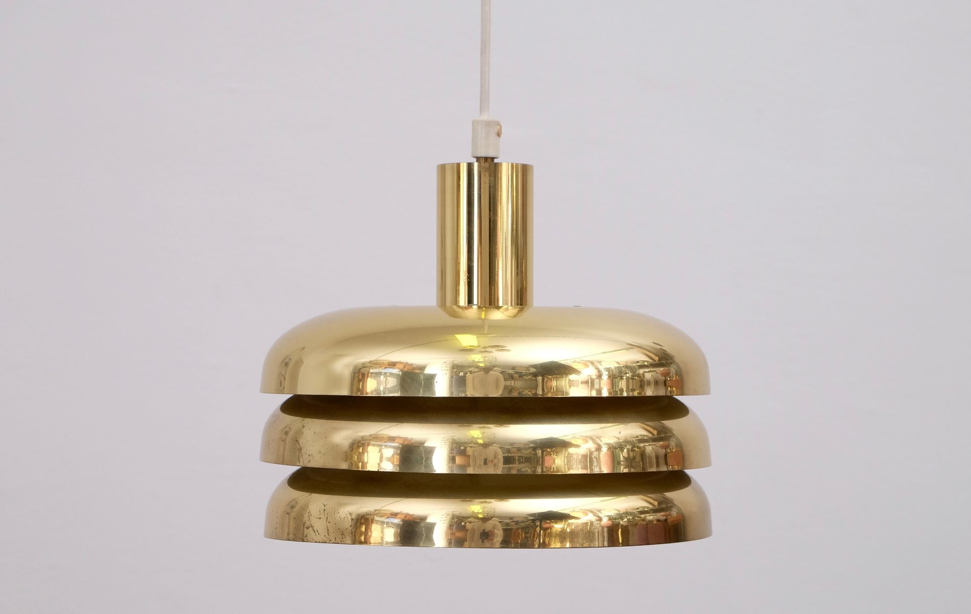 century brass saturn mid modern lightolier perforated by pendant ring