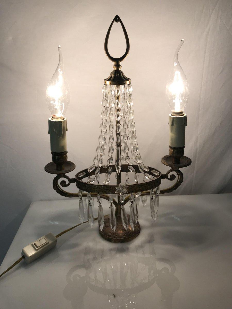 Amazing Vintage Italian Crystal Beaded Candelabra Table Lamp