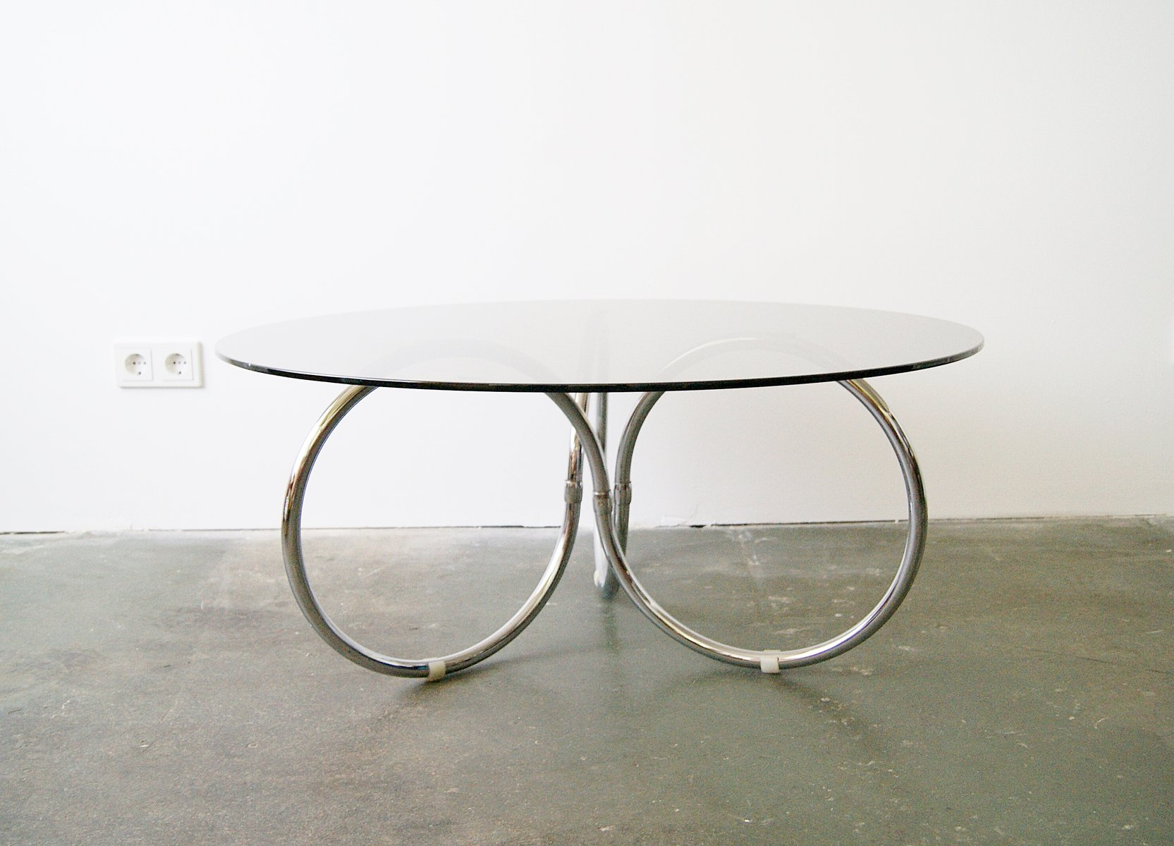 Round Glass Chrome Coffee Table 1970s for sale at Pamono