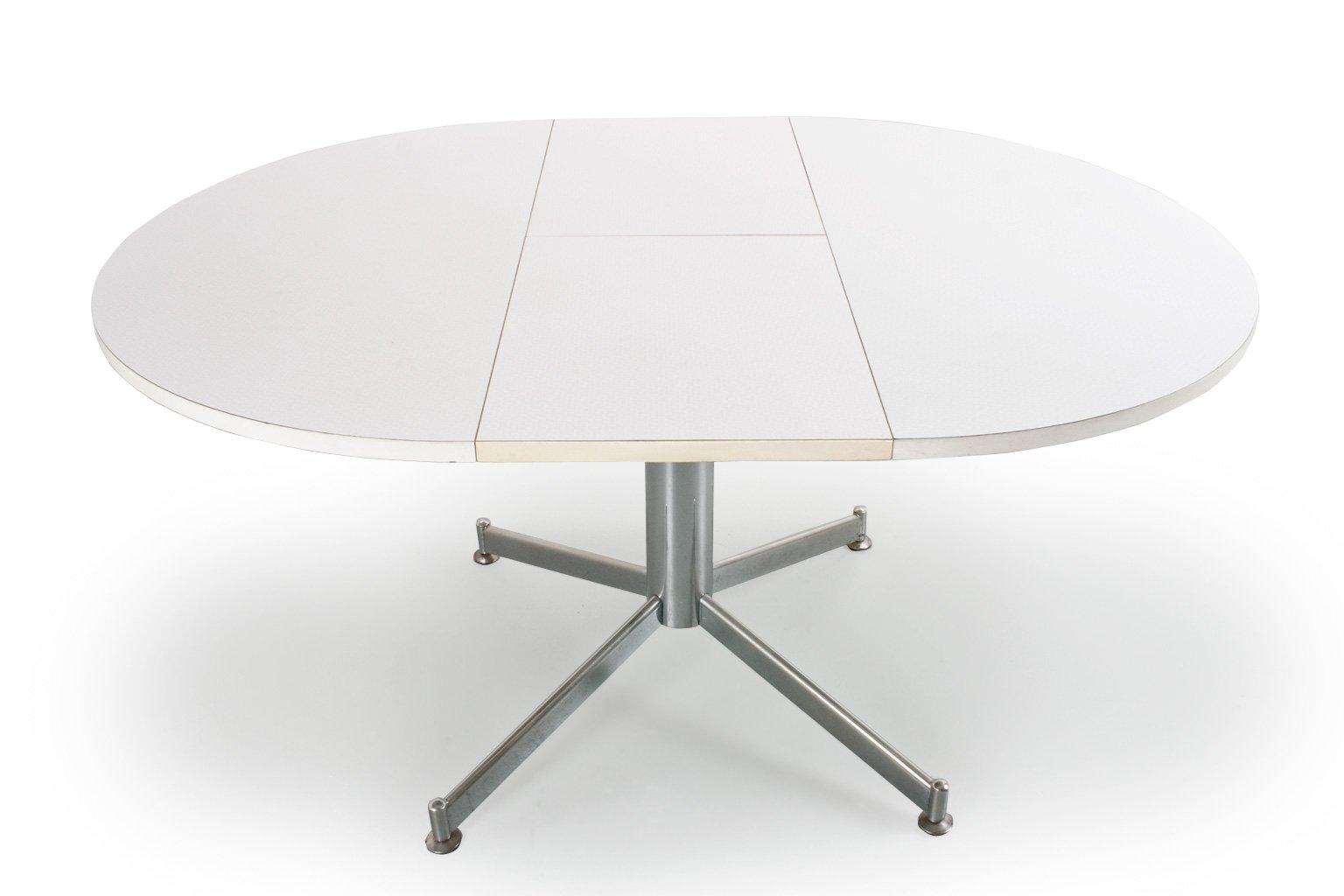 Tavolo da pranzo rotondo vintage allungabile in metallo e legno di ...
