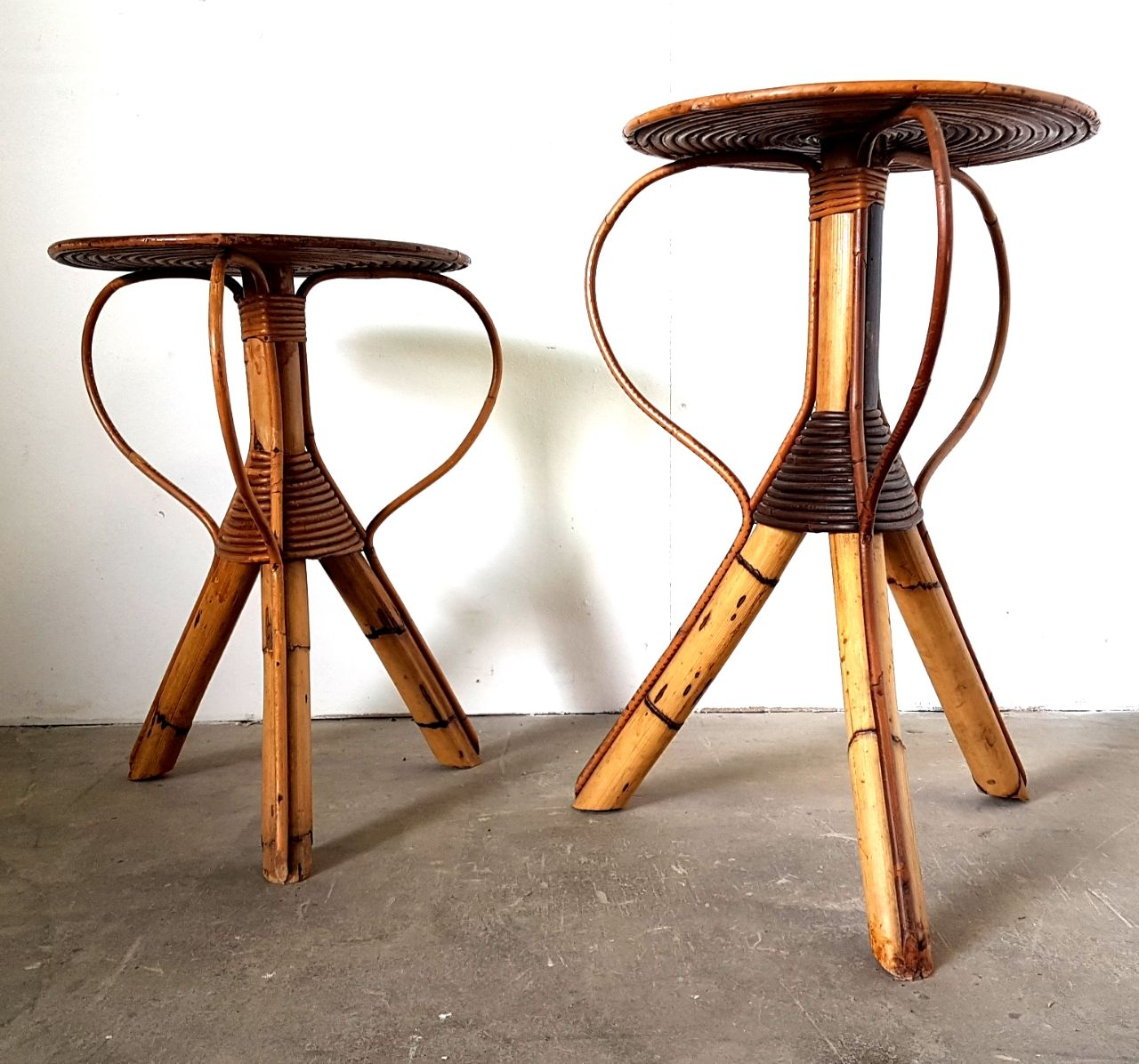Mid-Century Rattan Side Tables, Set of 2 for sale at Pamono
