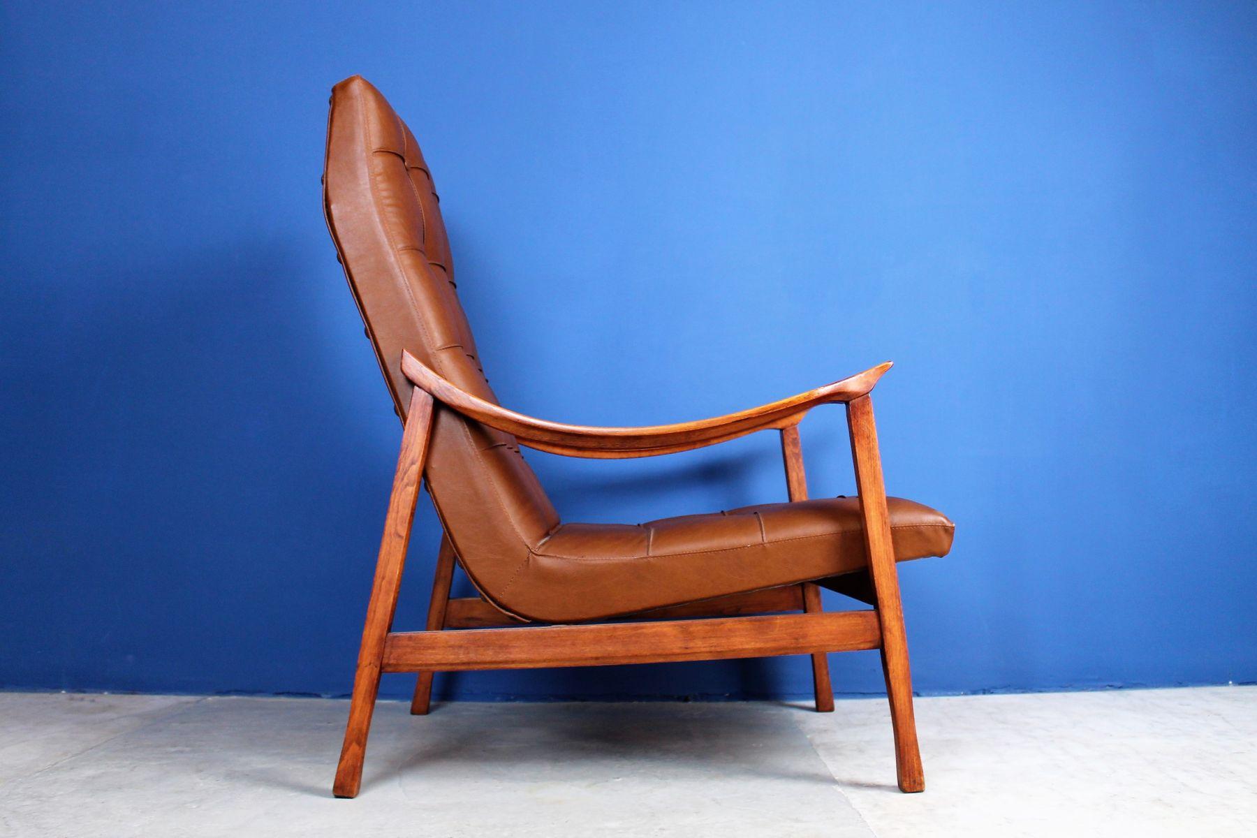 skandinavischer mid century sessel aus holz und koleder. Black Bedroom Furniture Sets. Home Design Ideas